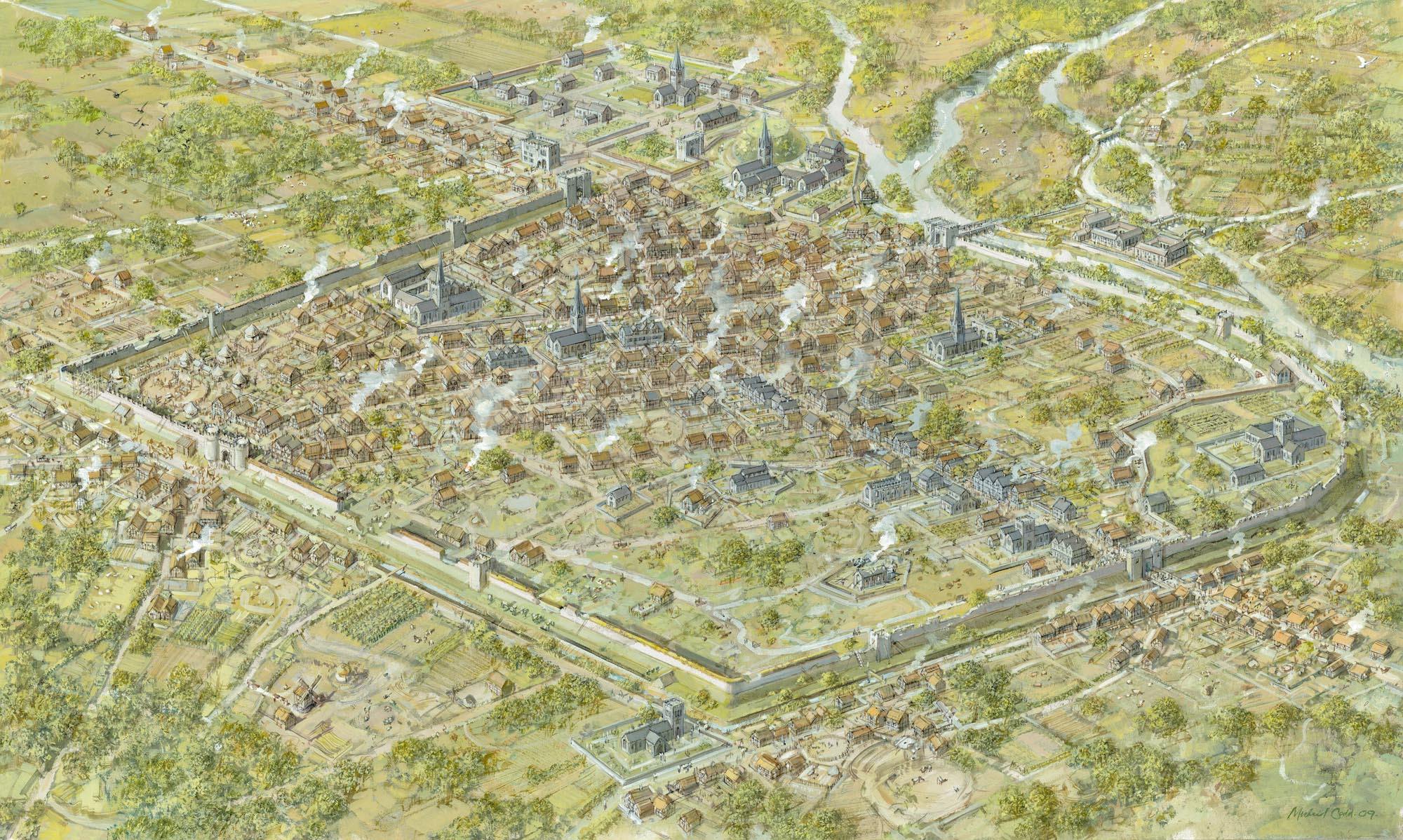 An artist impression of how Leicester looked around 1450 -