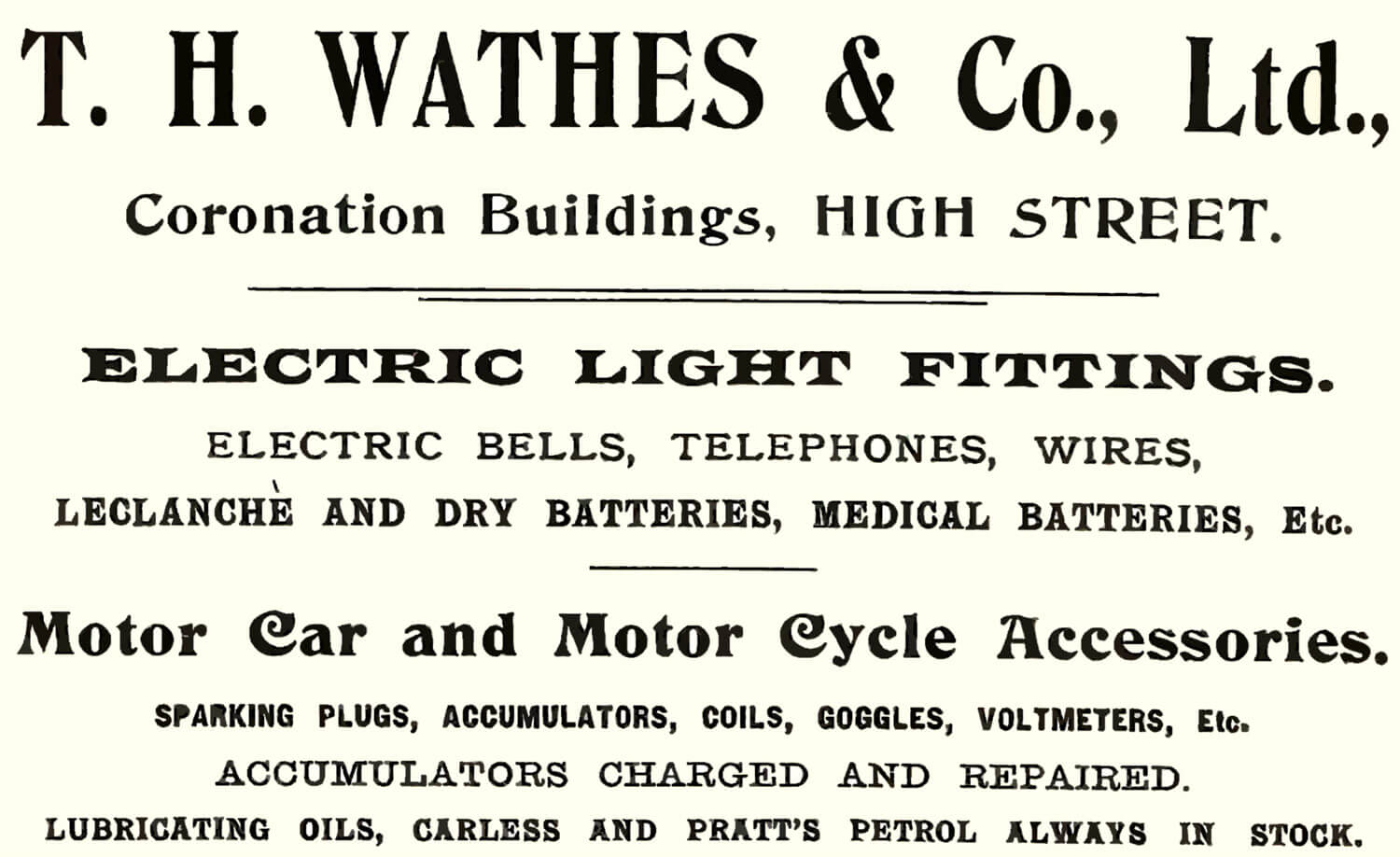 Advert for T.H. Wathes & Co. Ltd. Who were based in the Coronation Buildings -