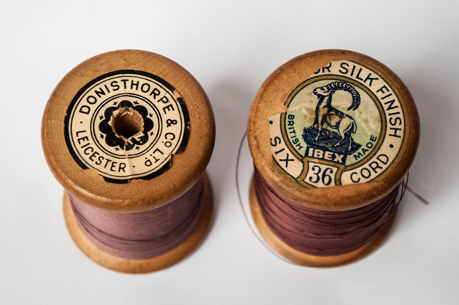 Donisthorpe branded cotton reels - from the collection of Leicester Museums