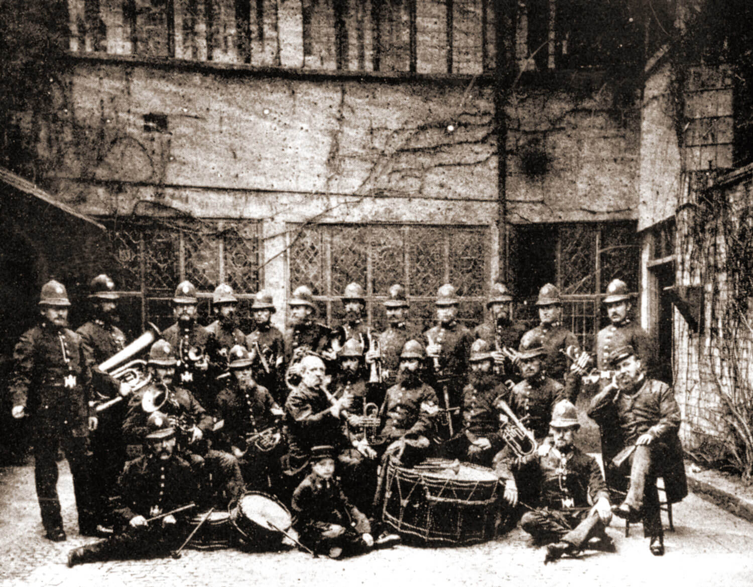 The Police Band in The Guildhall courtyard late 1870s -