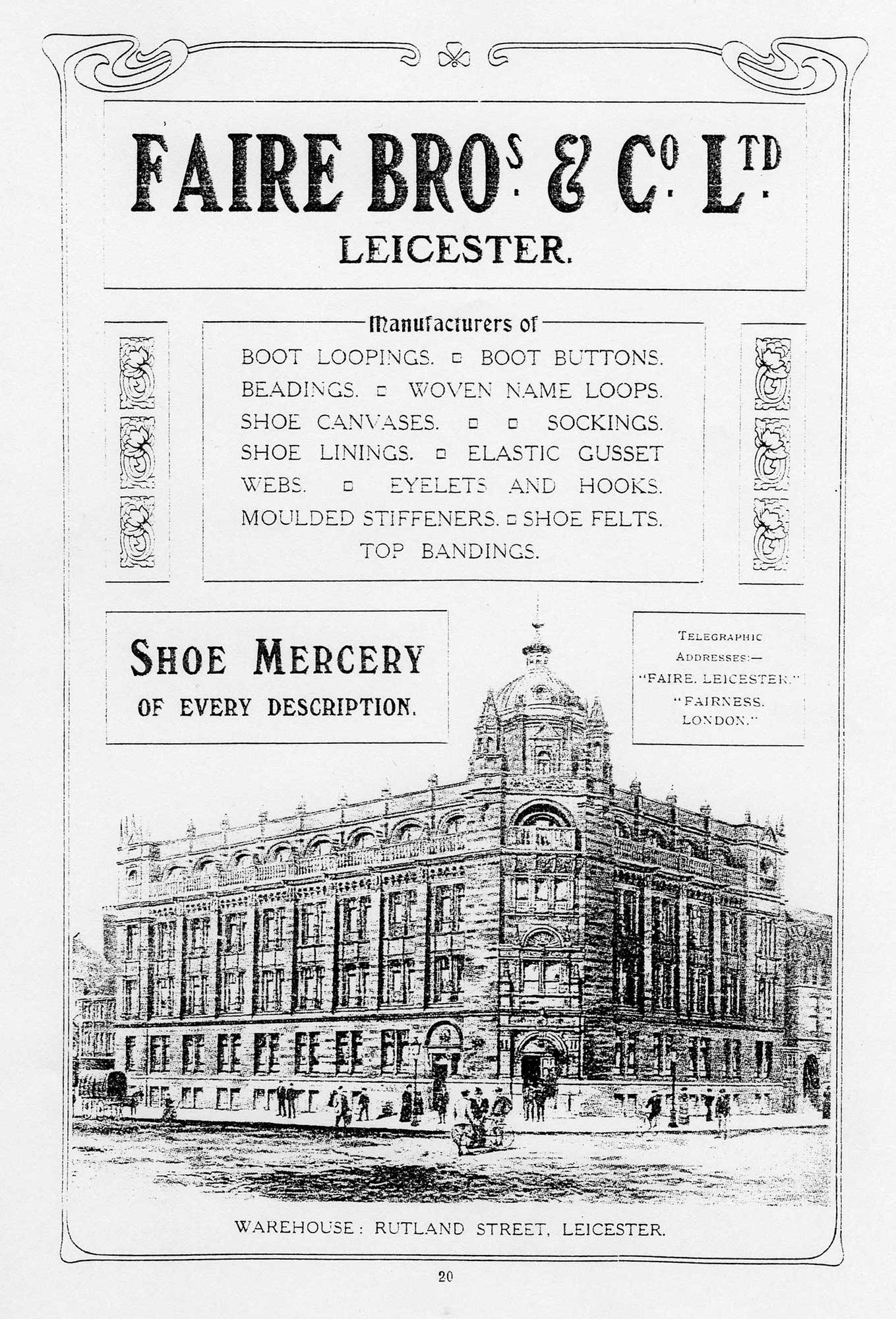 Advert for Faire Bros & Co Ltd with a drawing of Alexandra House -