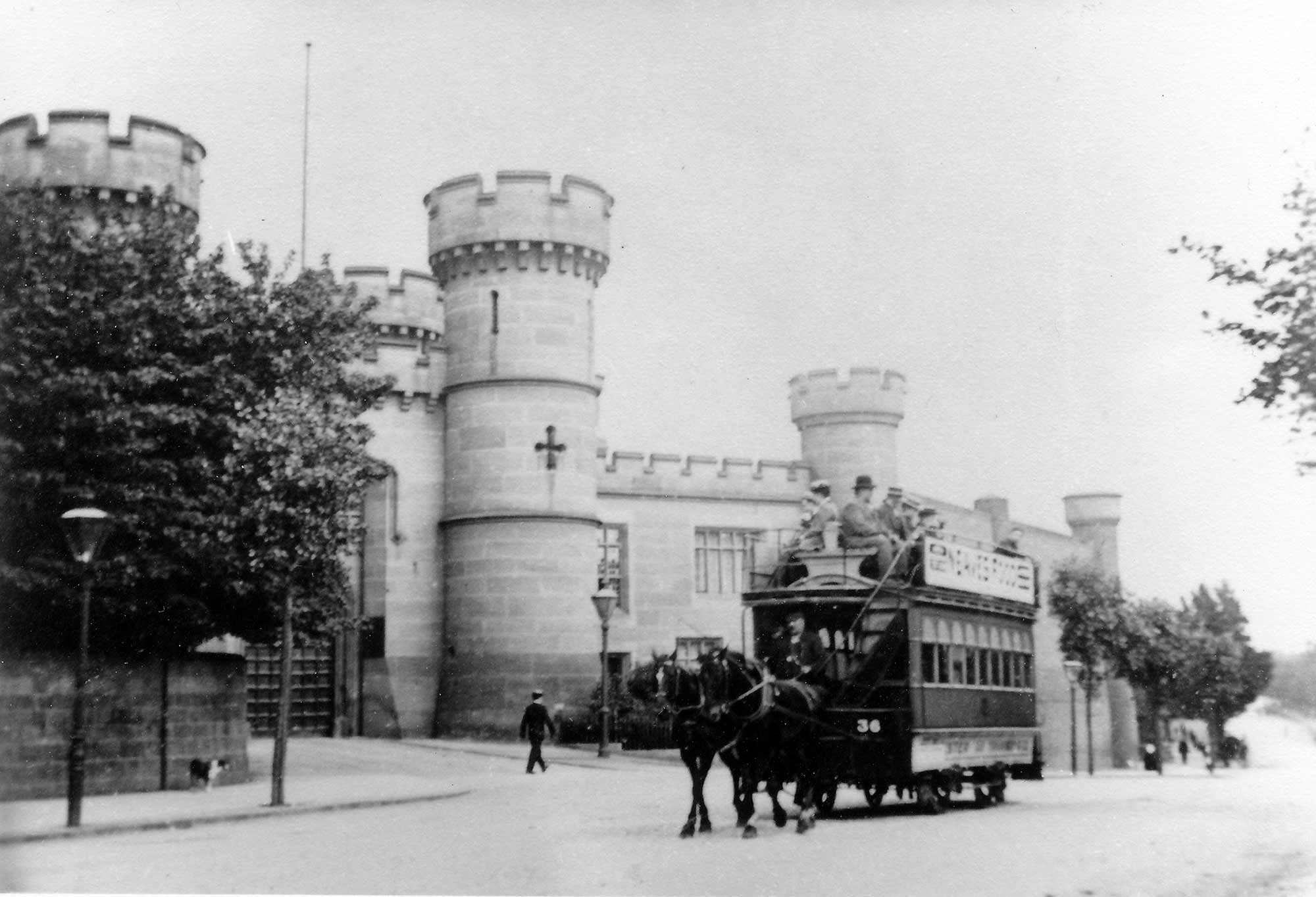 A horse drawn tram (the No. 36) passing by the County Gaol, c.1890 -