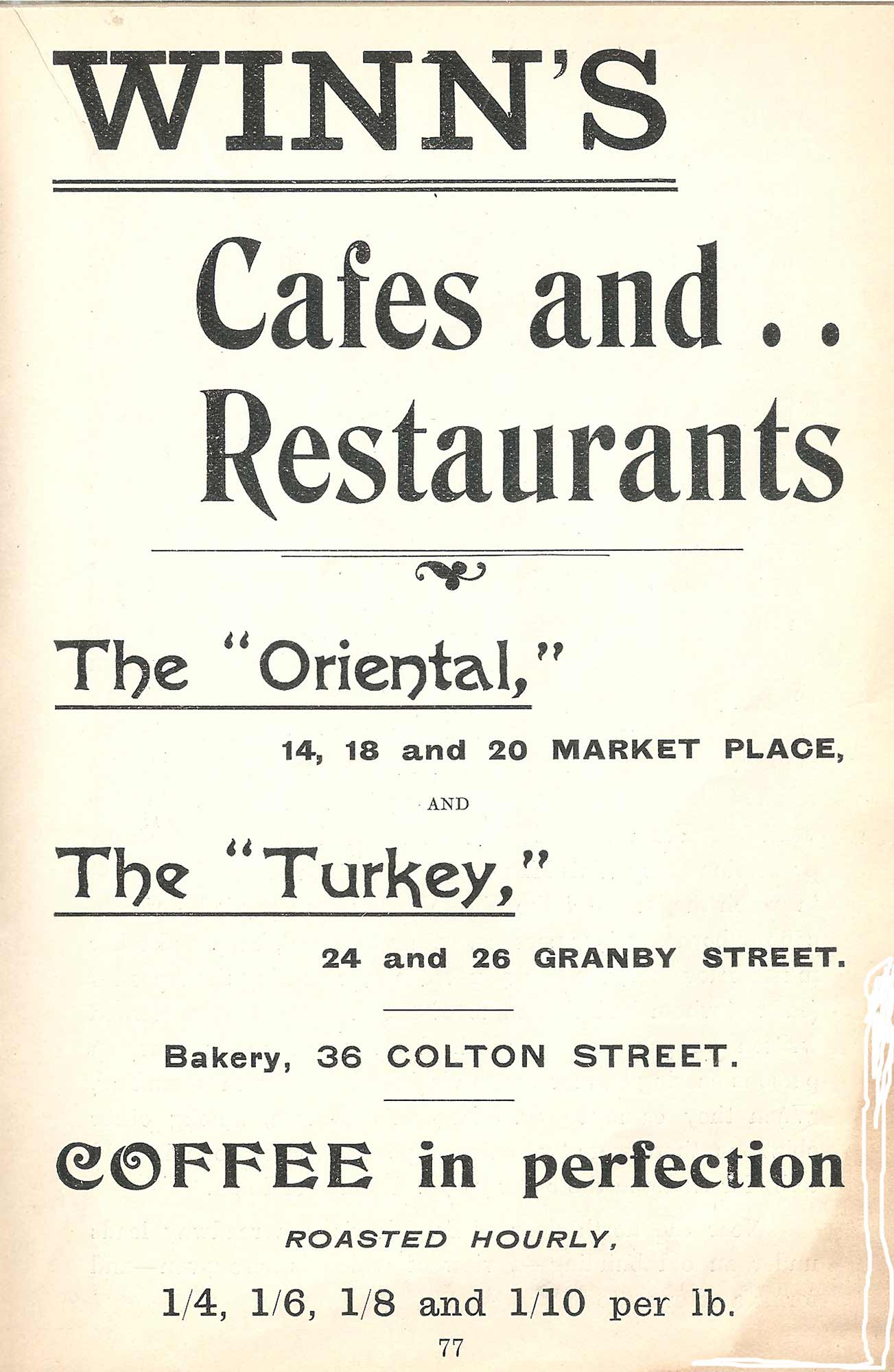 An advert for 'Winn's' who owned the Turkey Café at one time -