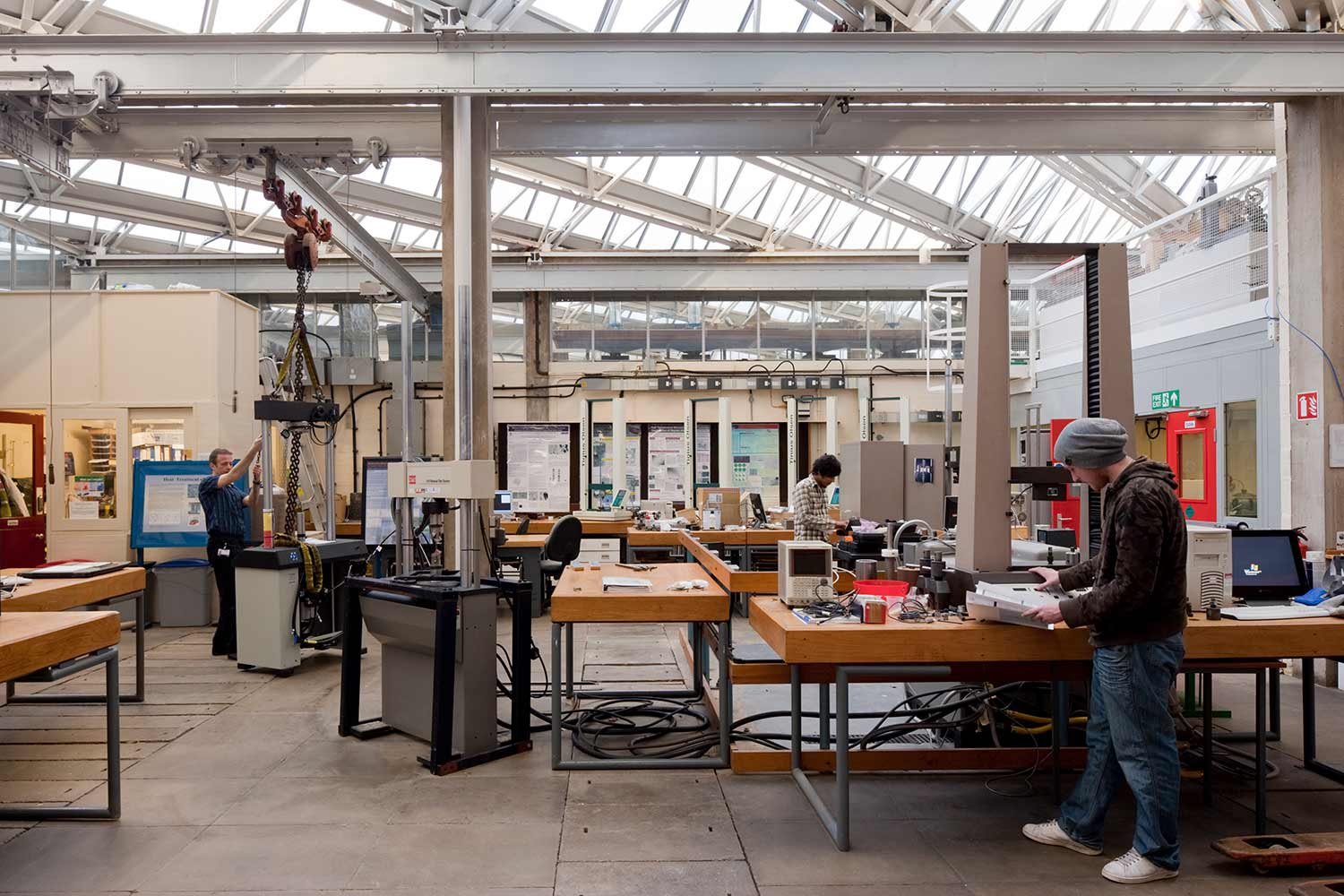 Inside a workshop you can see how the design of the roof windows bring in the light - University of Leicester