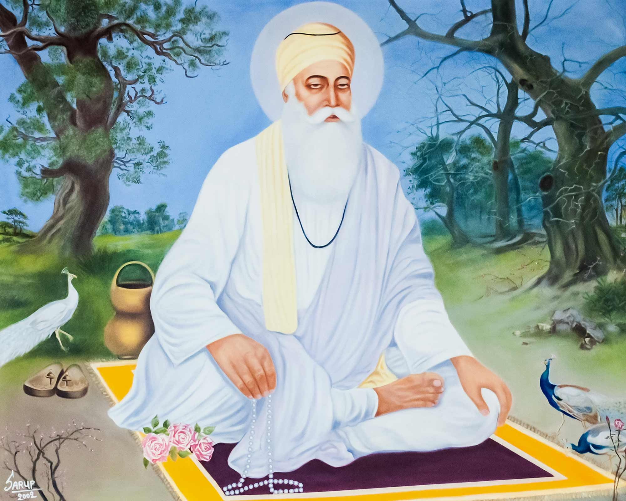 Portrait of Guru Nanak Dev Ji, founder of Sikhism -