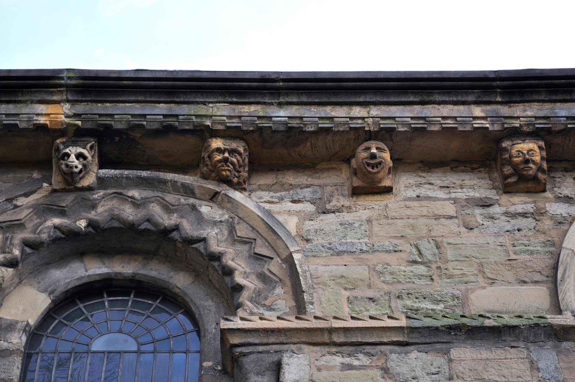 Stone carvings on the church exterior -