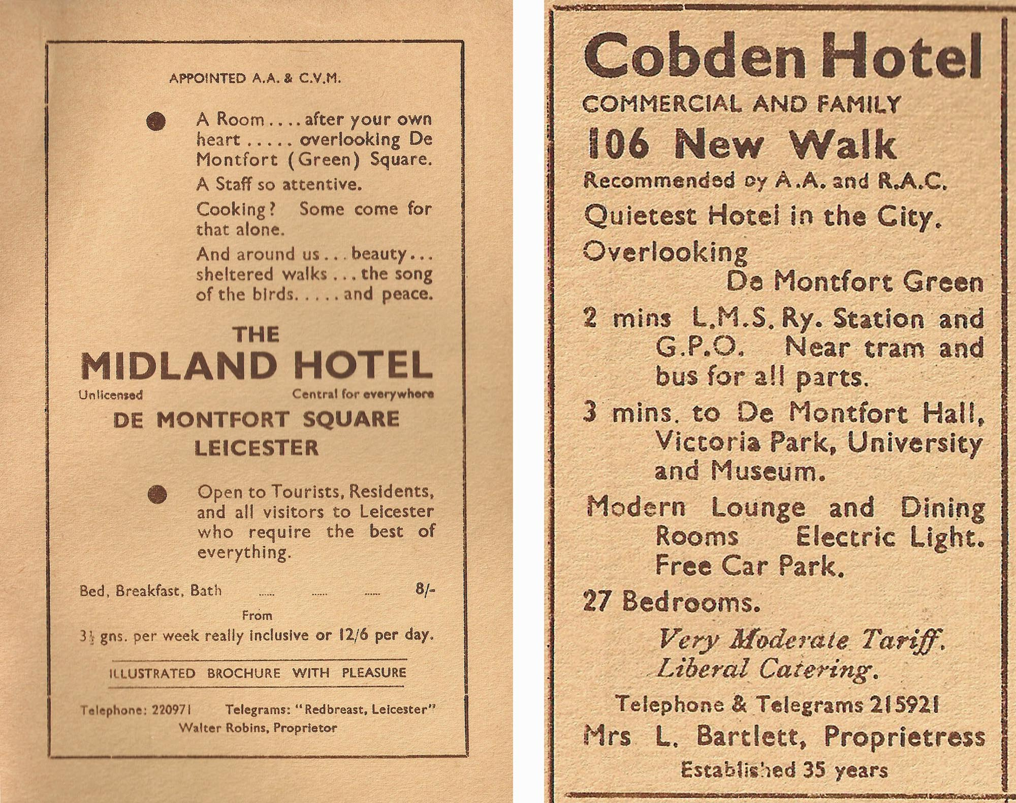 Hotel adverts from a 1930s newspaper -