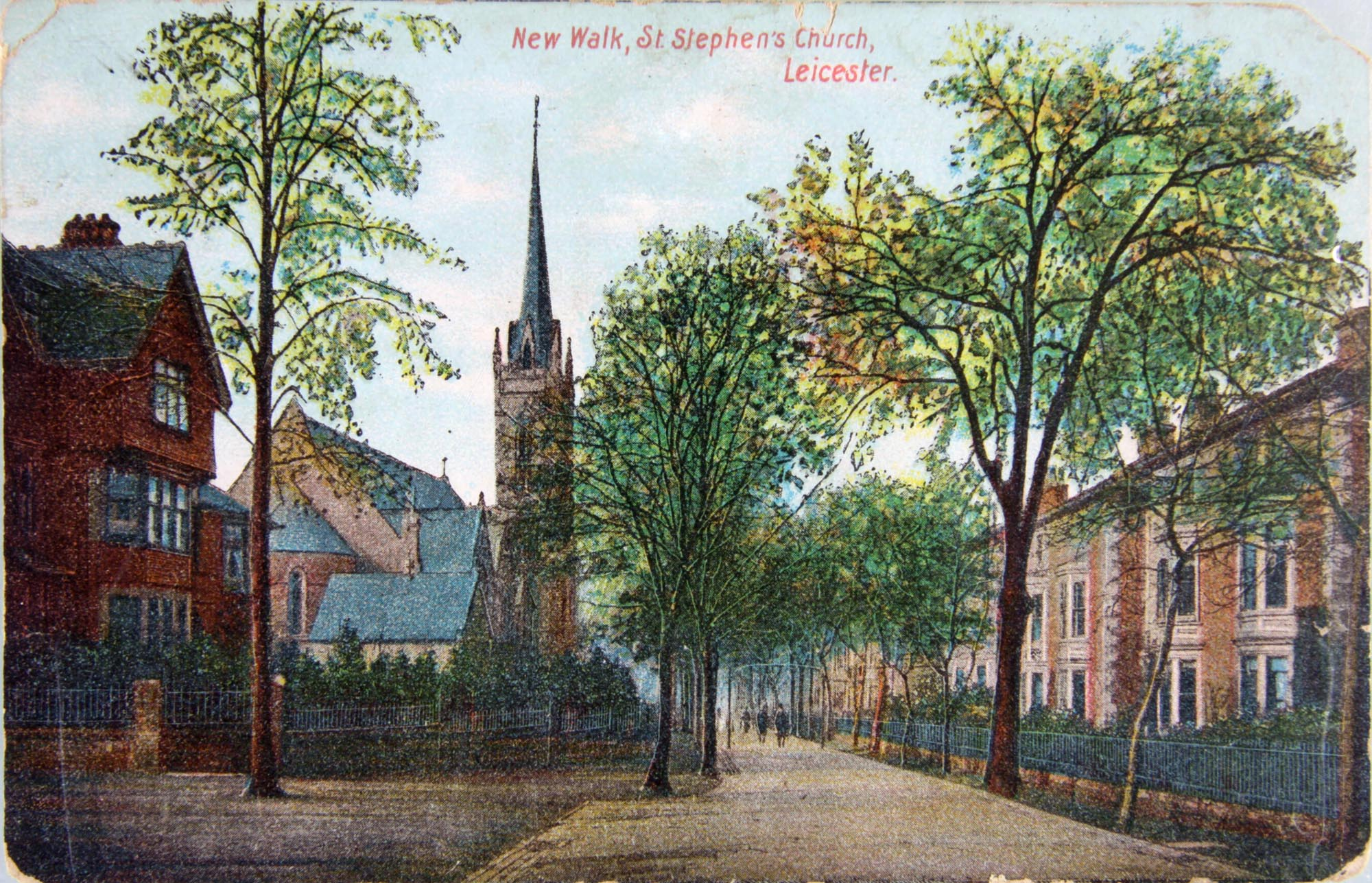 Postcard showing St Stephens Church, 1905 - Leicestershire Record Office