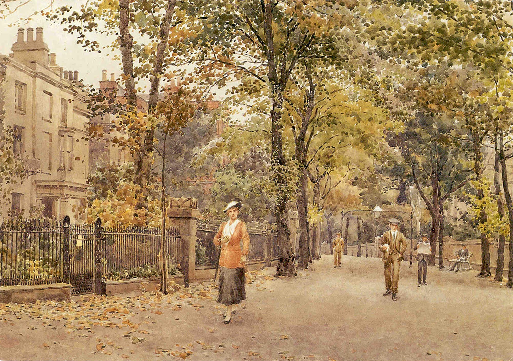 The New Walk, Leicester by George Moore Henton. Watercolour 1917 -