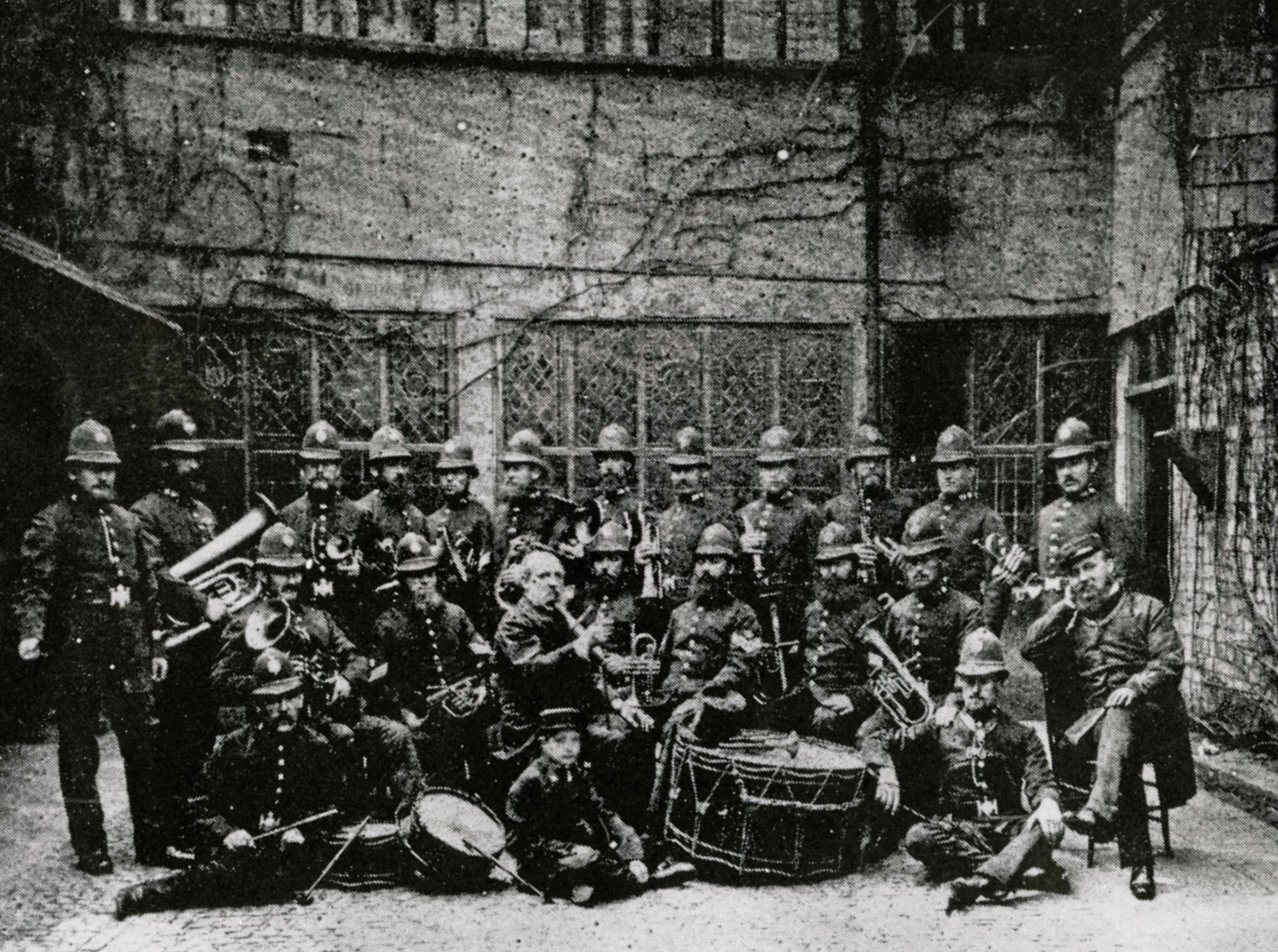 Leicester Borough Police Band, c.1865 in the courtyard of what is now The Guildhall -