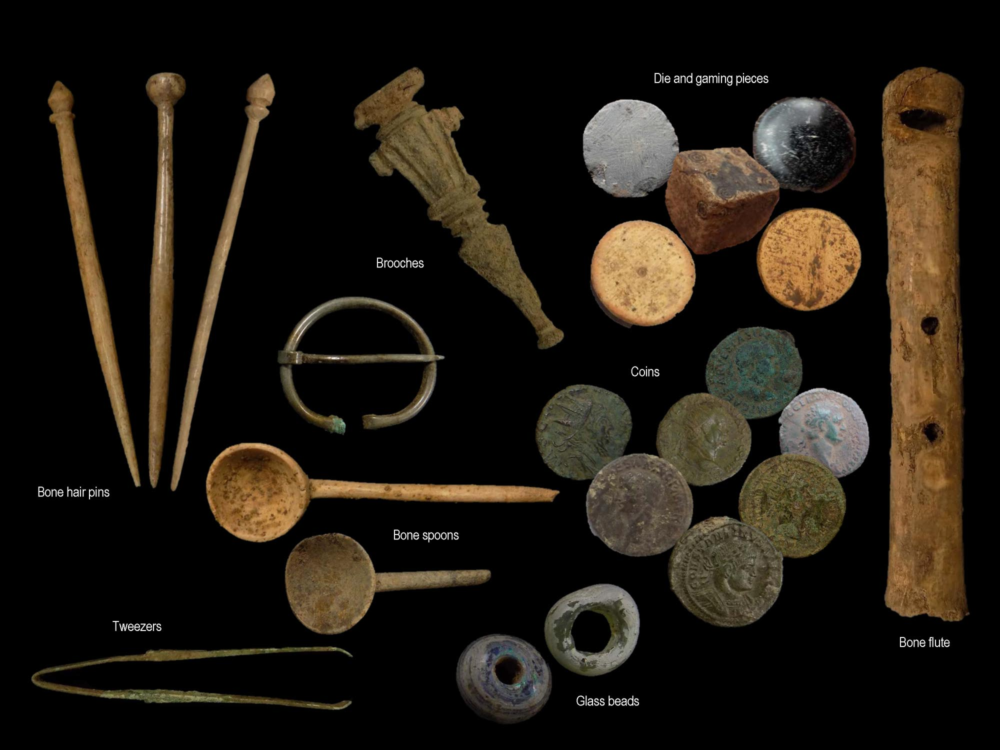 A wide variety of personal items were found during the excavation of Roman townhouses and other buildings at Great Central Street - University of Leicester Archaeological Services