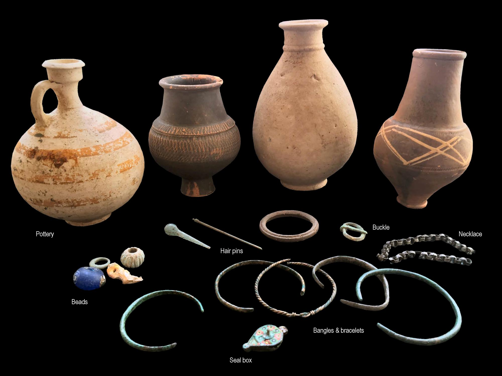 Personal items buried with people from Roman Leicester, found during the excavation of a Roman cemetery at Western Road - University of Leicester Archaeological Services