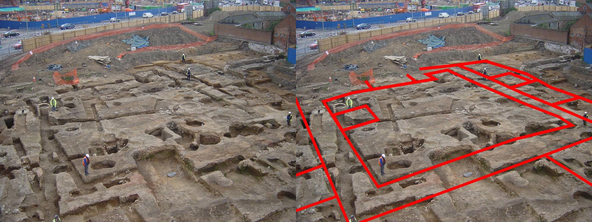 Excavation of the Vine Street courtyard house, now beneath the John Lewis car park, revealed the outline of a large Roman townhouse - University of Leicester Archaeological Services