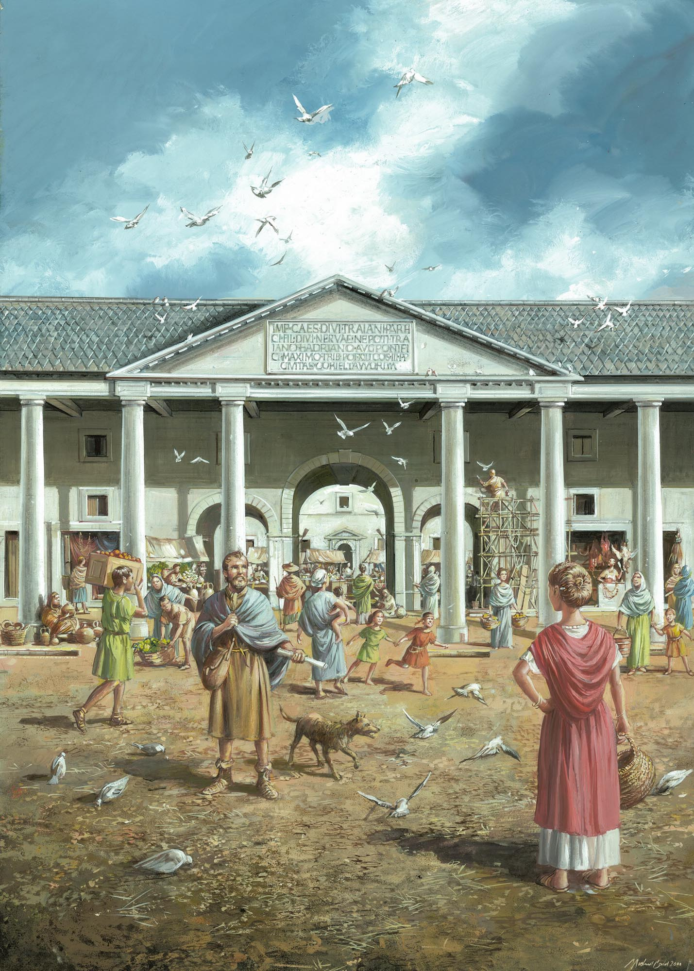 The entrance to the Roman forum as it may have looked during the 2nd and 3rd century CE - Mike Codd / University of Leicester Archaeological Services