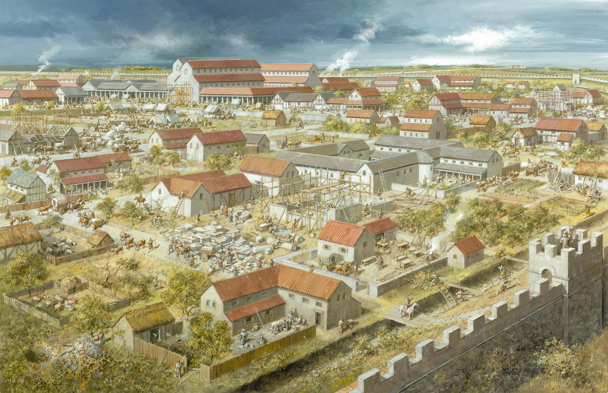 Roman Leicester from the north-east, as it may have looked during the late 3rd century AD - Mike Codd / University of Leicester Archaeological Services