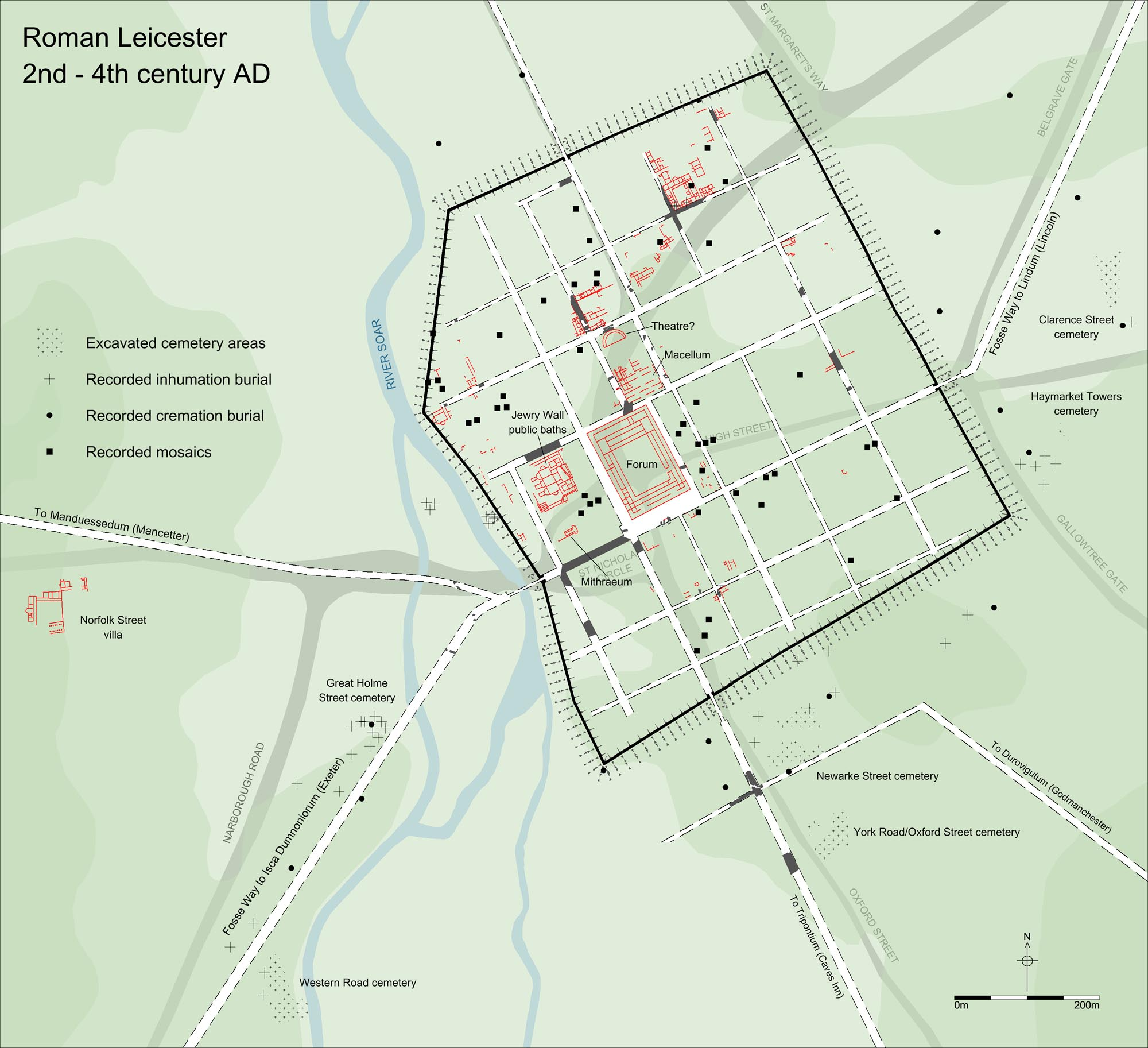 Plan of Roman Leicester - University of Leicester Archaeological Services