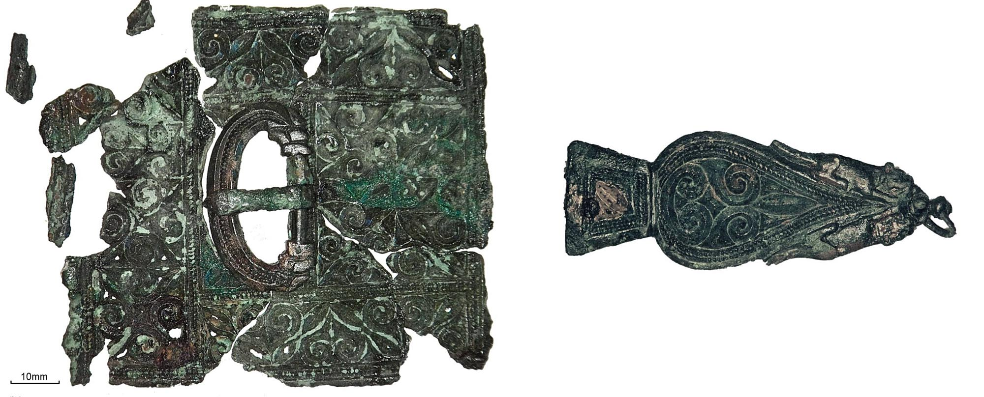 A late Roman belt set, comprising a belt buckle, belt plate and strap end, found in a grave of a late 4th century Roman soldier or civil servant. Found near Western Road, Leicester - University of Leicester Archaeological Services