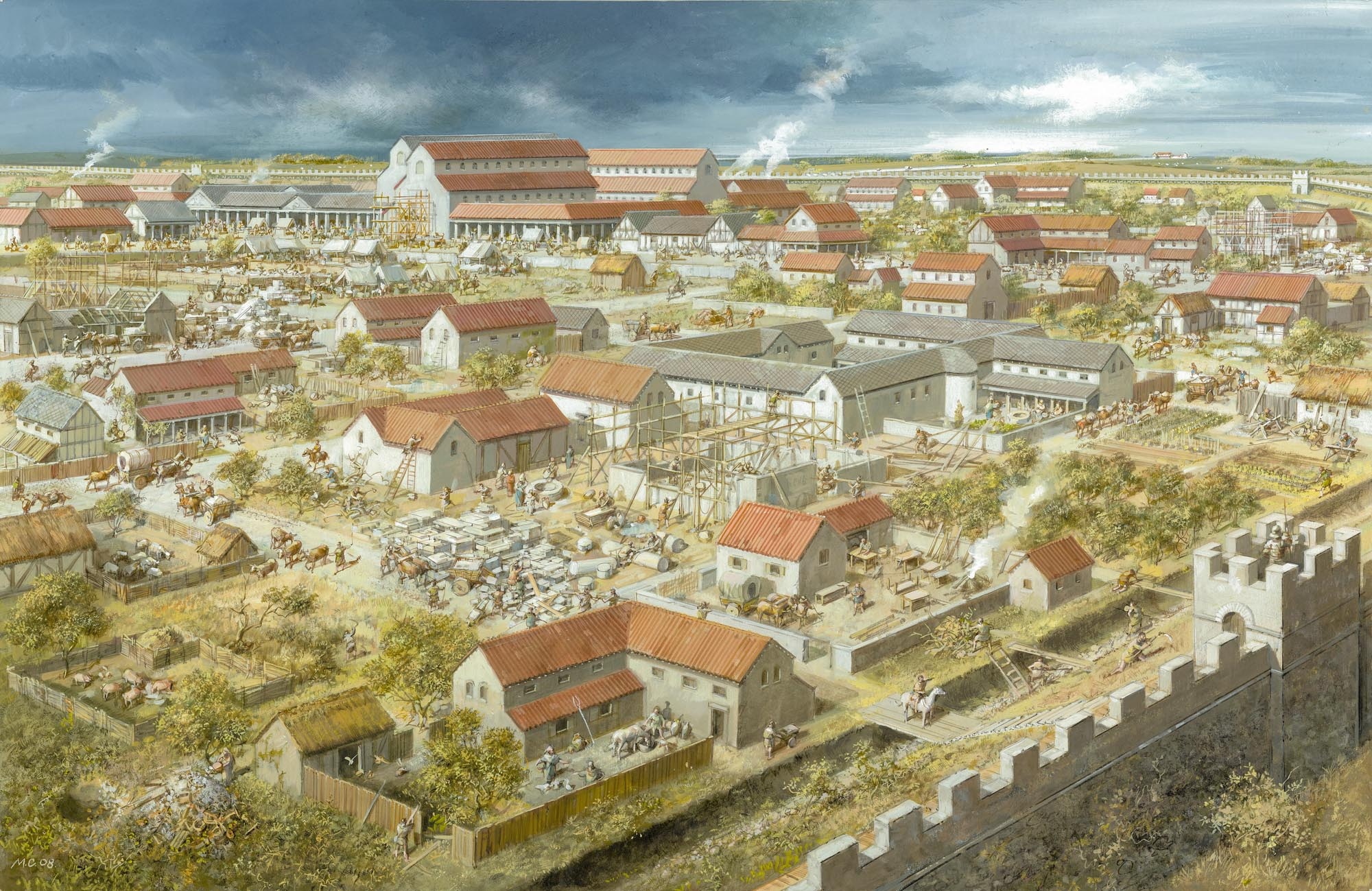 Roman Leicester from the north-east as it may have looked during the late 3rd century CE - Mike Codd  / University of Leicester Archaeological Services