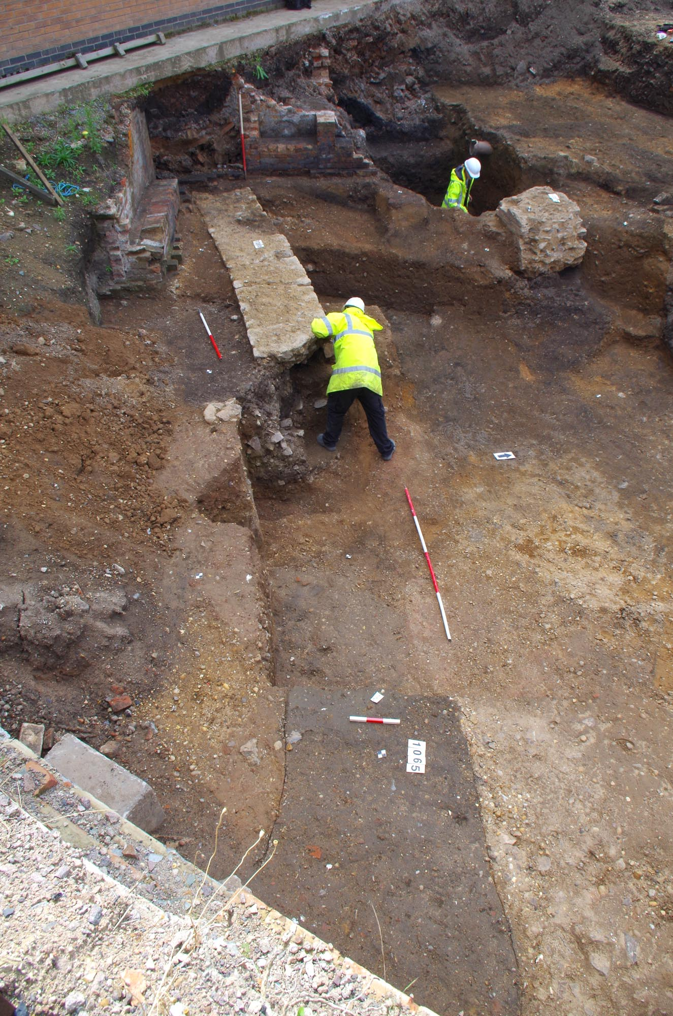 The remains of a curved public building, excavated in 2017, has been interpreted as a Roman theatre, the first to be found in Leicester - University of Leicester Archaeological Services