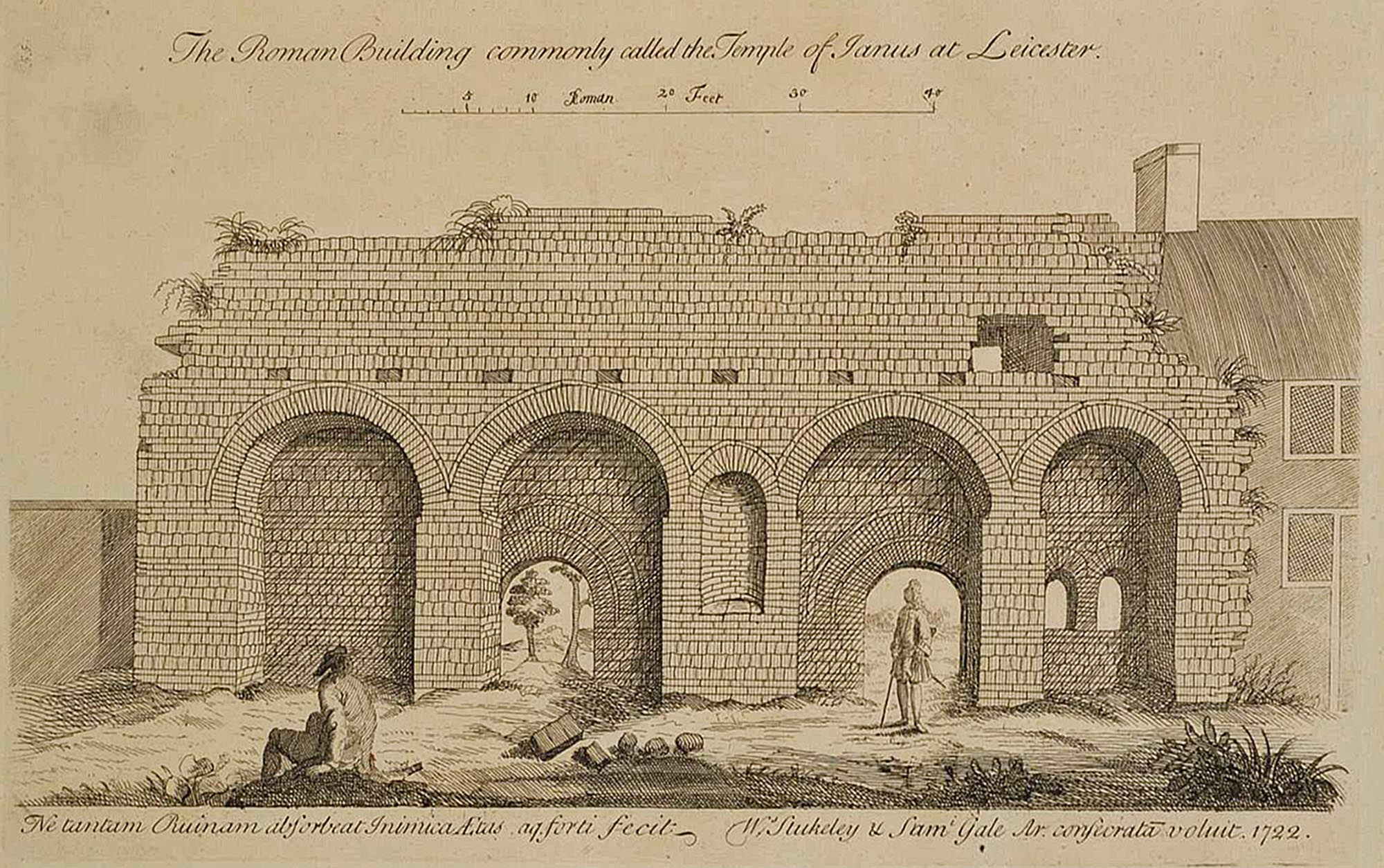 'The Roman Building commonly called the Tempe of Janus (Jewry Wall) at Leicester' by W. Stuckley, 1722 - Stuckley's Itinerarium Curiosum