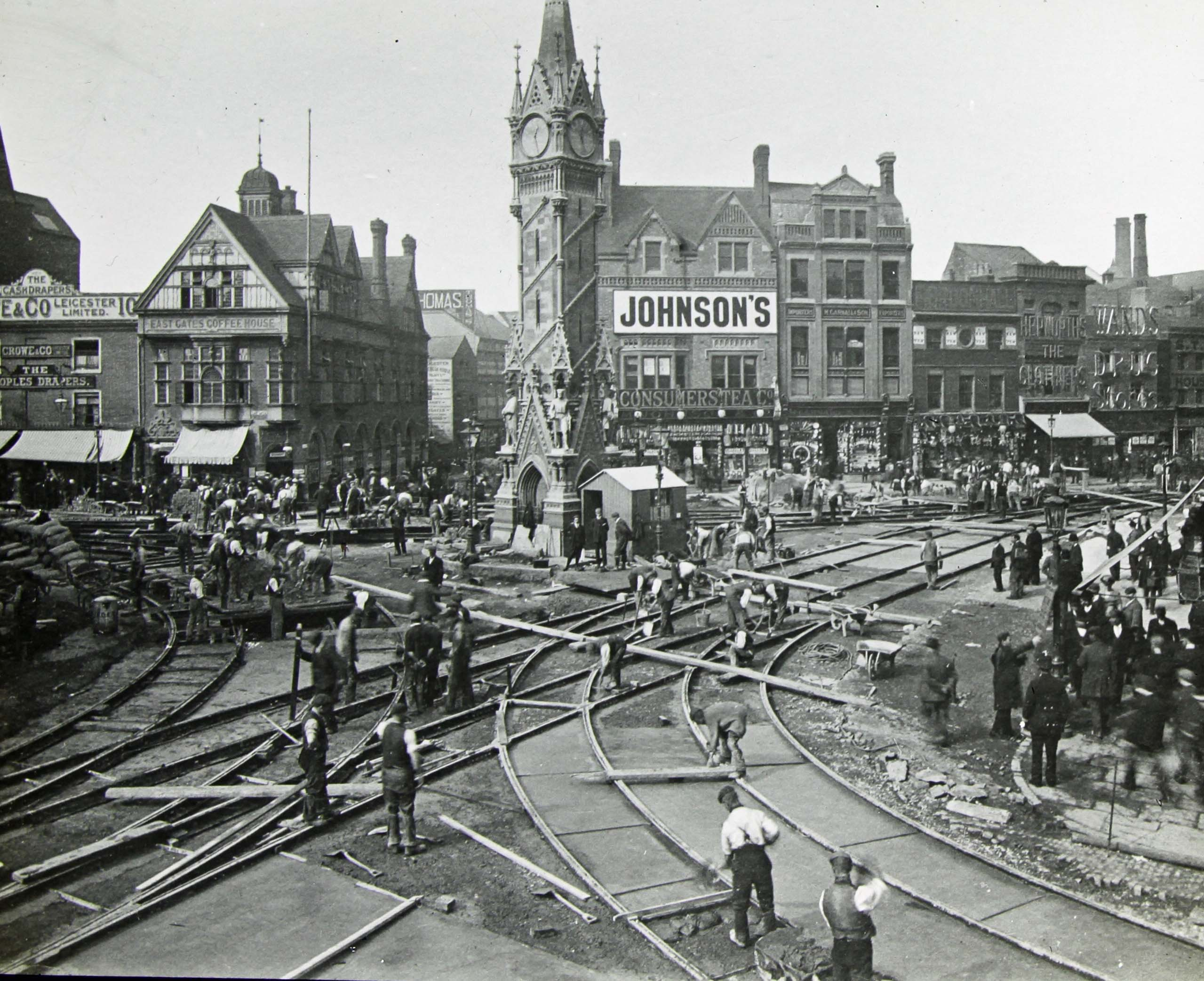 Laying tram tracks, 1903 - Leicestershire Record Office