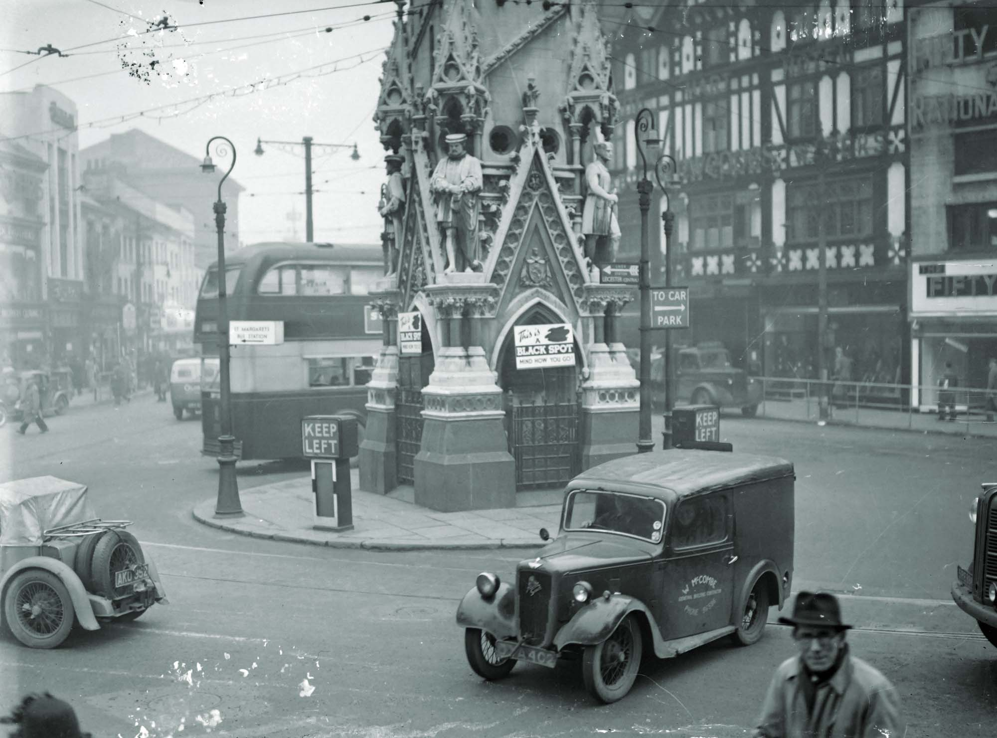 The Clock Tower as a traffic island, pre-1930s - Leicestershire Record Office