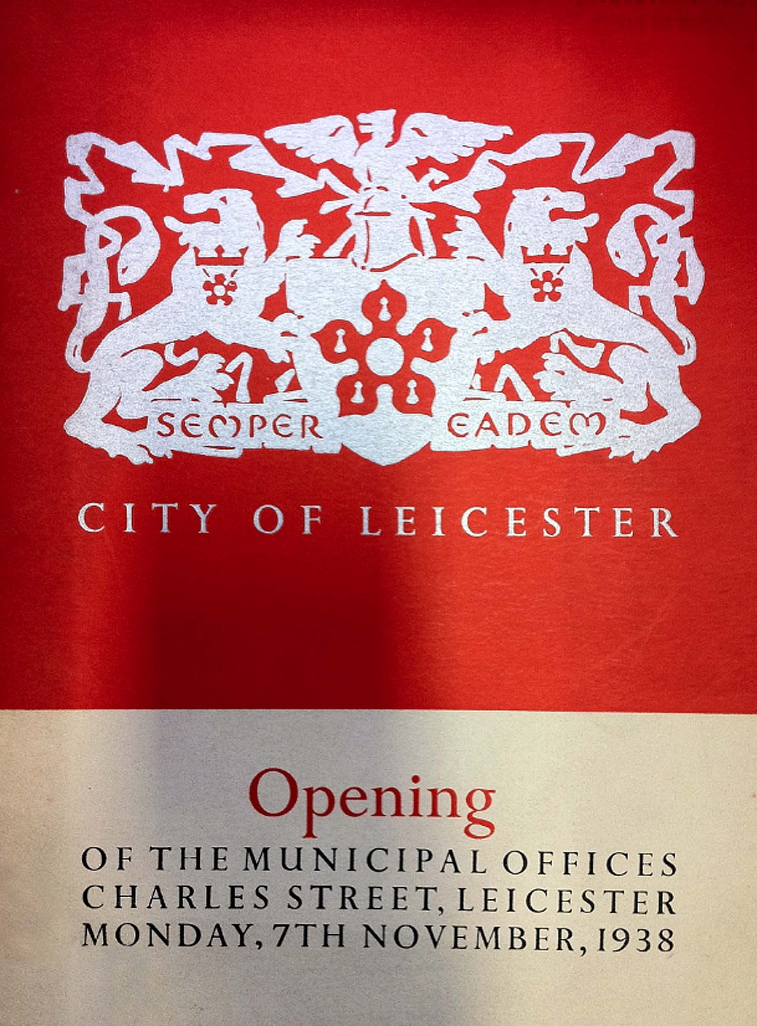 A booklet celebrating the opening of the new Municipal Offices -