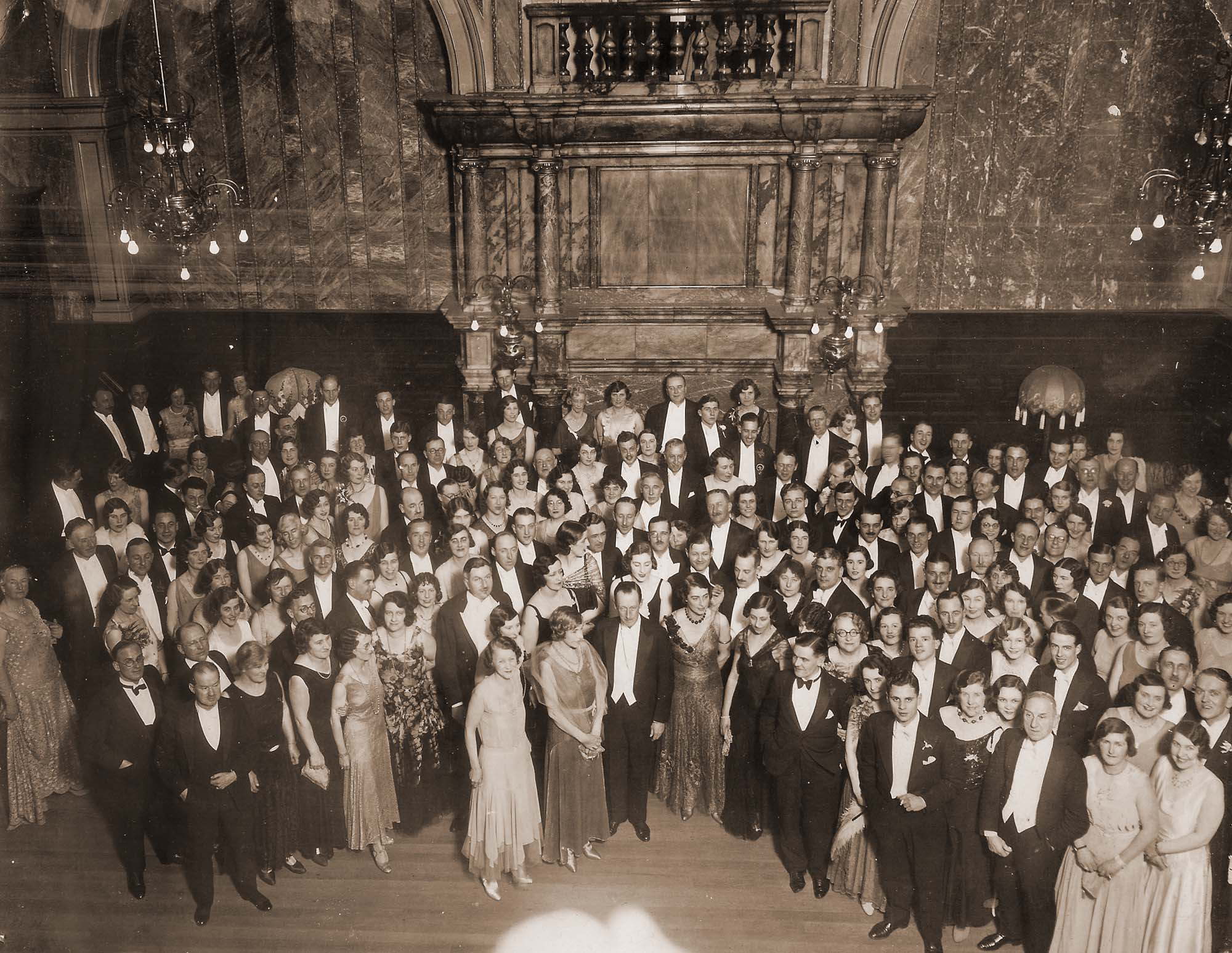 Guests at the Aero Club Ball, 1930. Amy Johnson is in the centre -