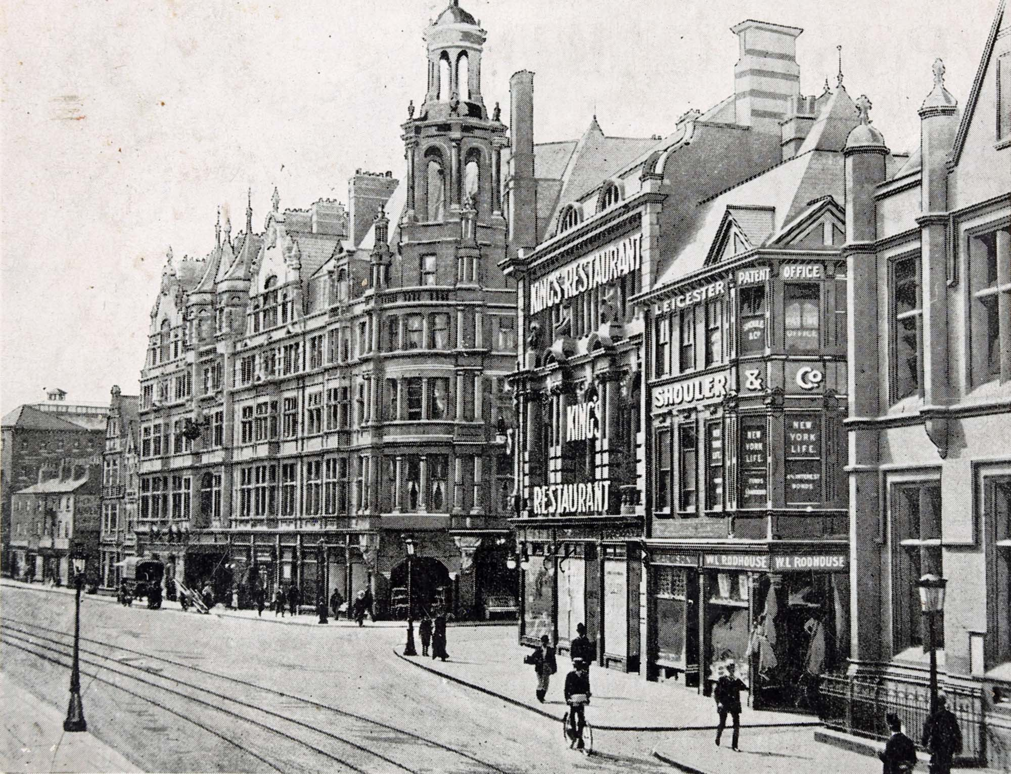Early stylised photograph of Granby Street showing both the Grand Hotel and the General Newsroom - Leicestershire Record Office
