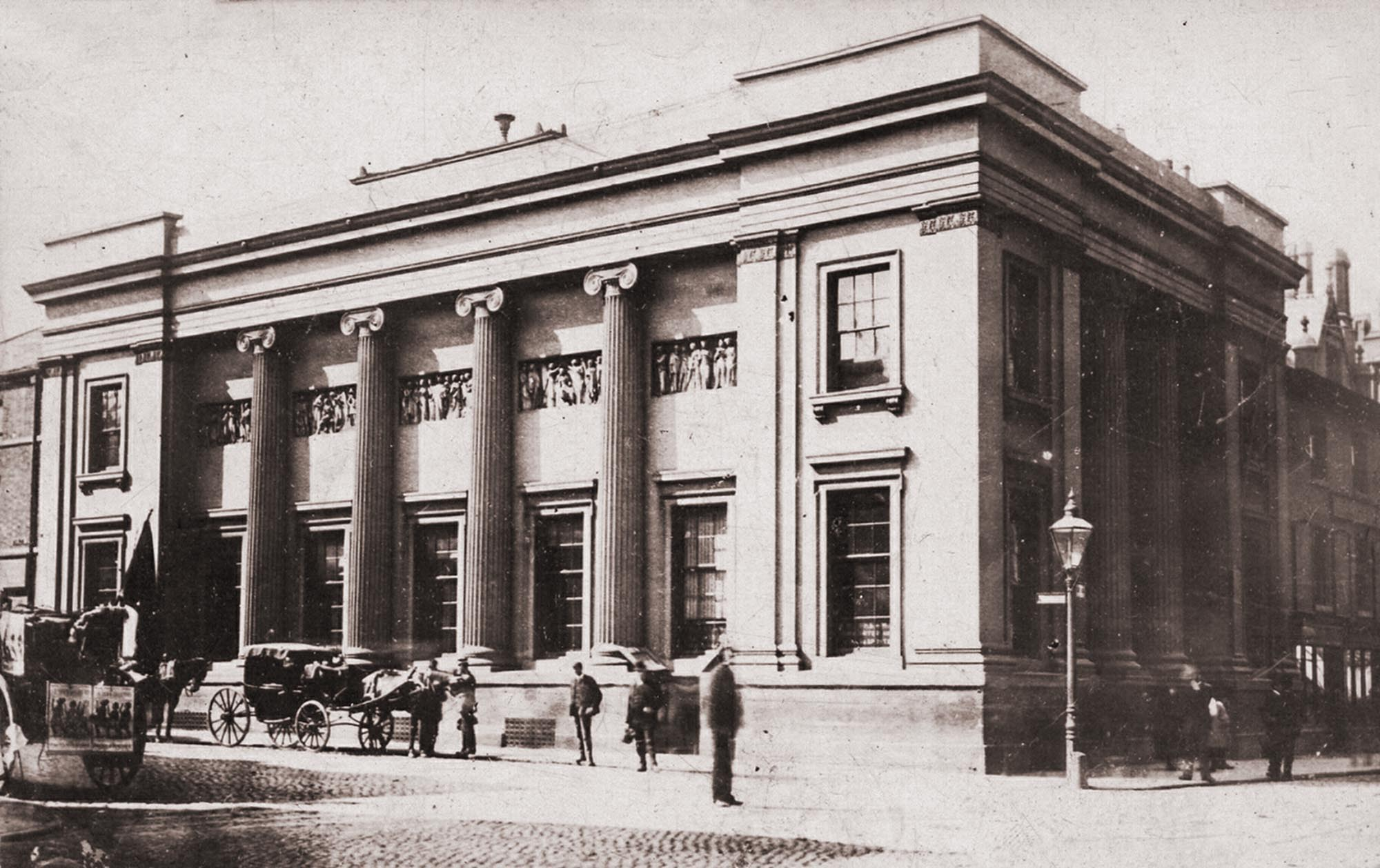 The first general newsroom built in 1837, demolished in the late 1890s - Leicestershire Record Office