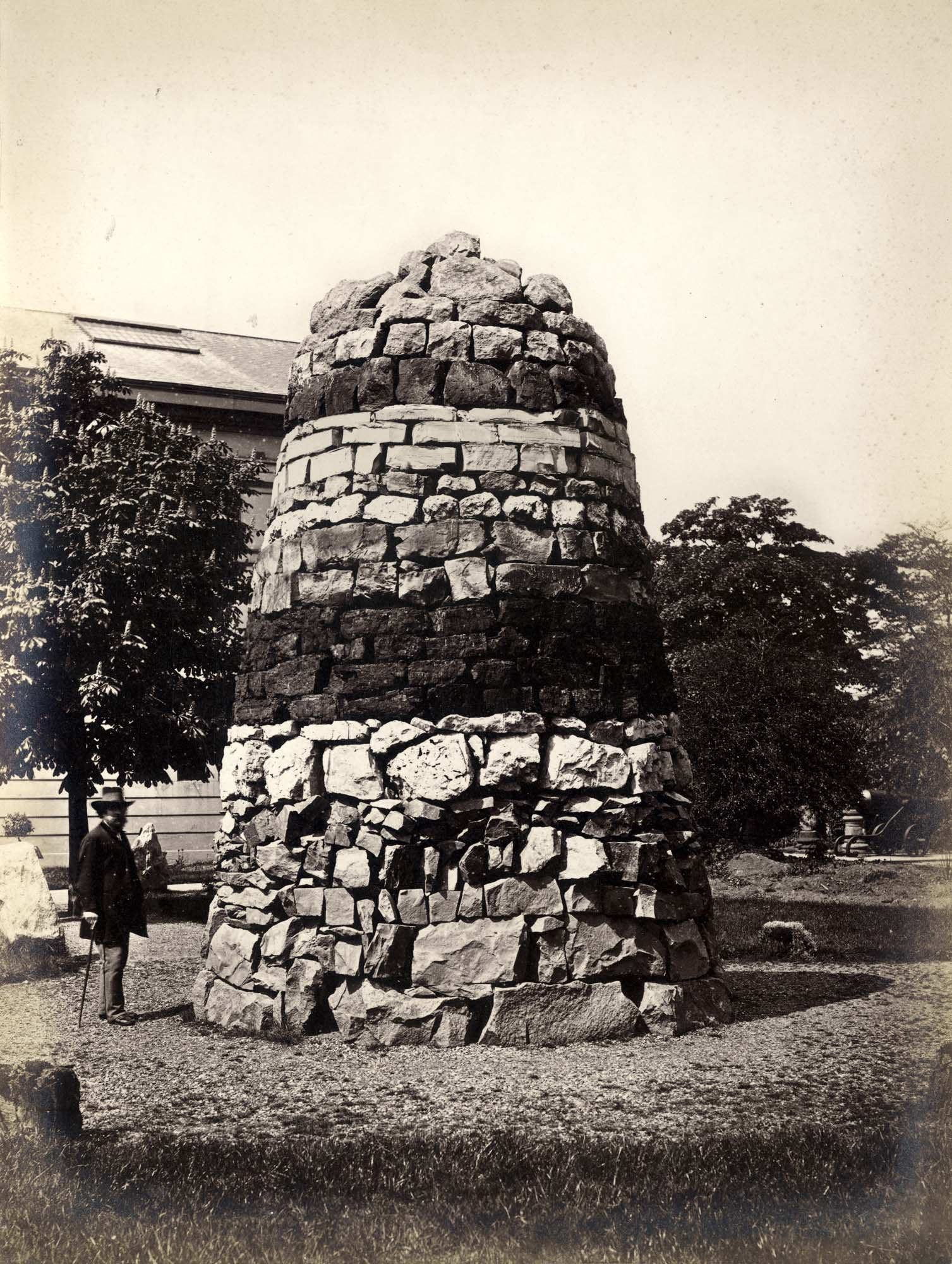 The 1869 'Column of Rocks' showing all the hard rocks of Leicestershire in their natural sequence. This exhibit was part of the museum gardens that were built over by the art school expansion. -