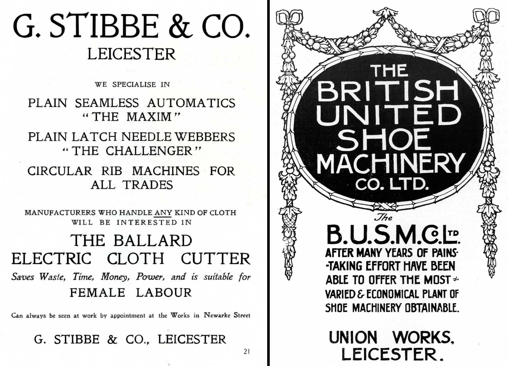 Wartime advertisements from Leicester manufacturing companies -