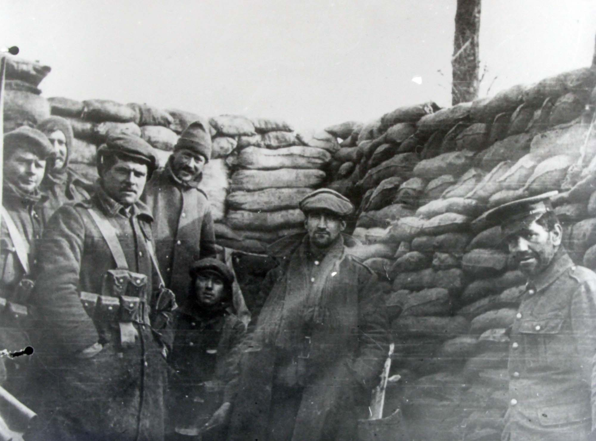 Troops from Leicestershire Regiment in a trench - Leicestershire Record Office