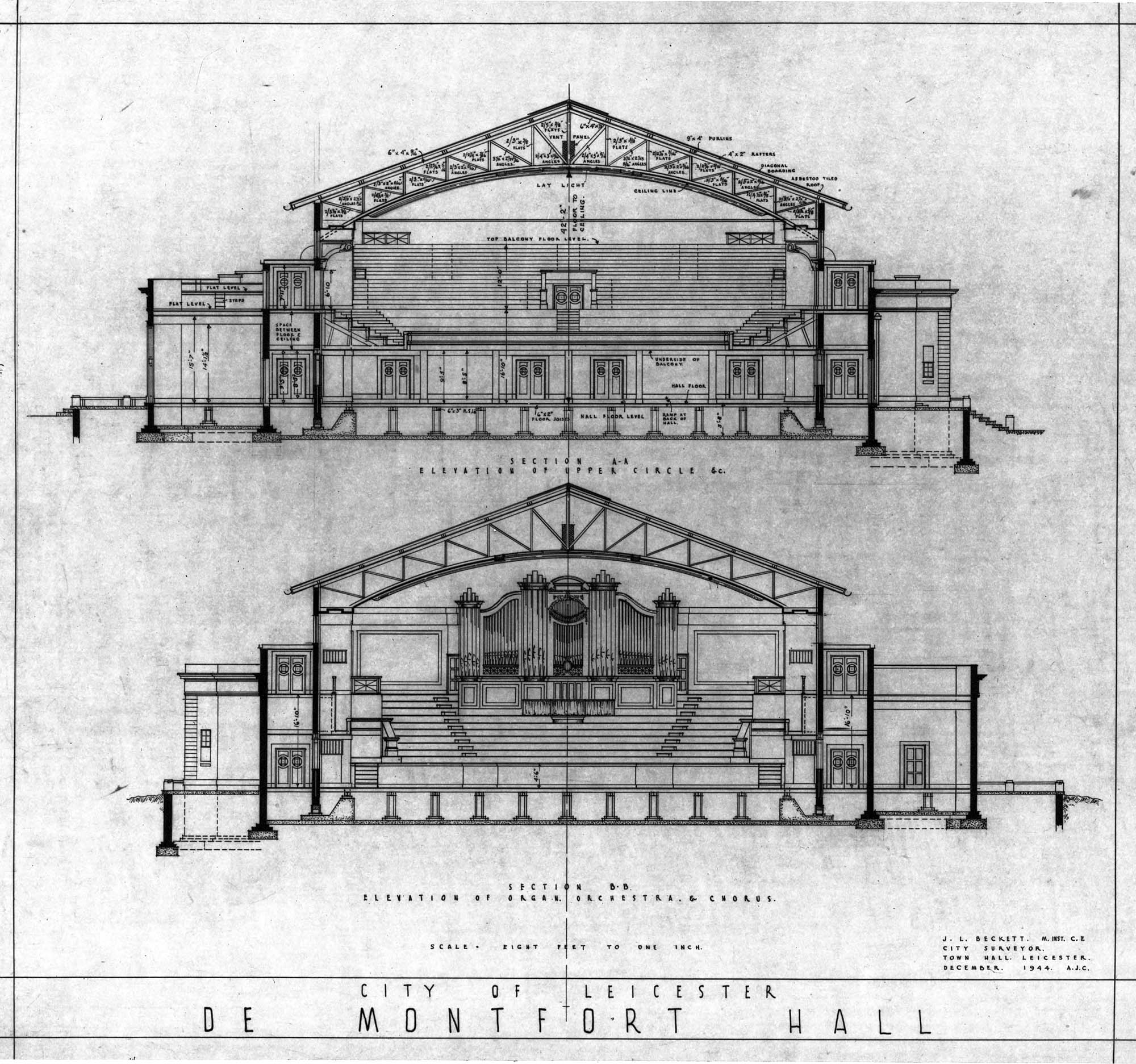 Architectural plans for the Hall -