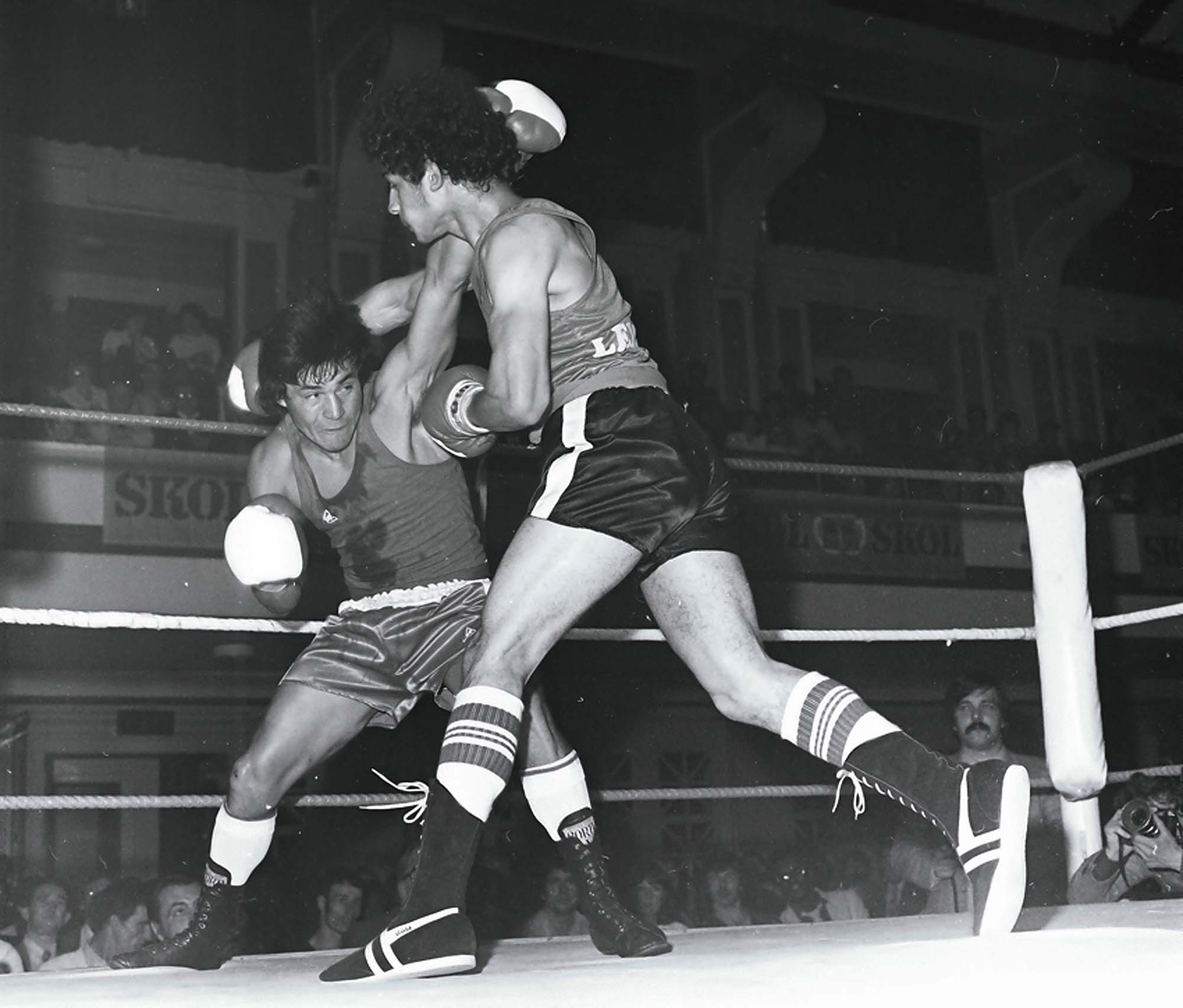 A boxing match at De Montfort Hall, 1981 -