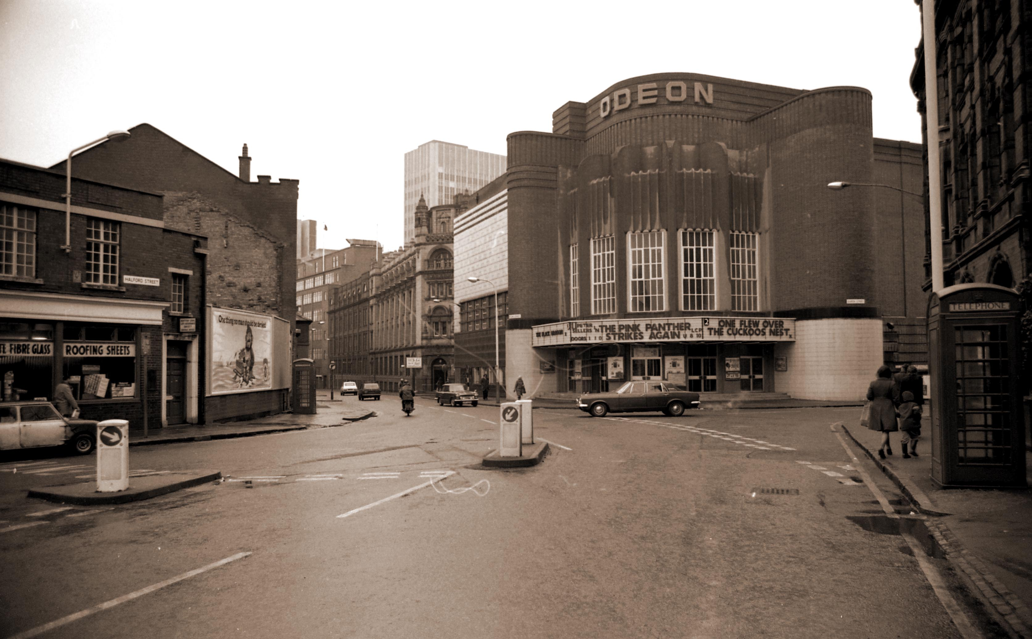 The Odeon with signs displaying what's currently showing , 1975 -