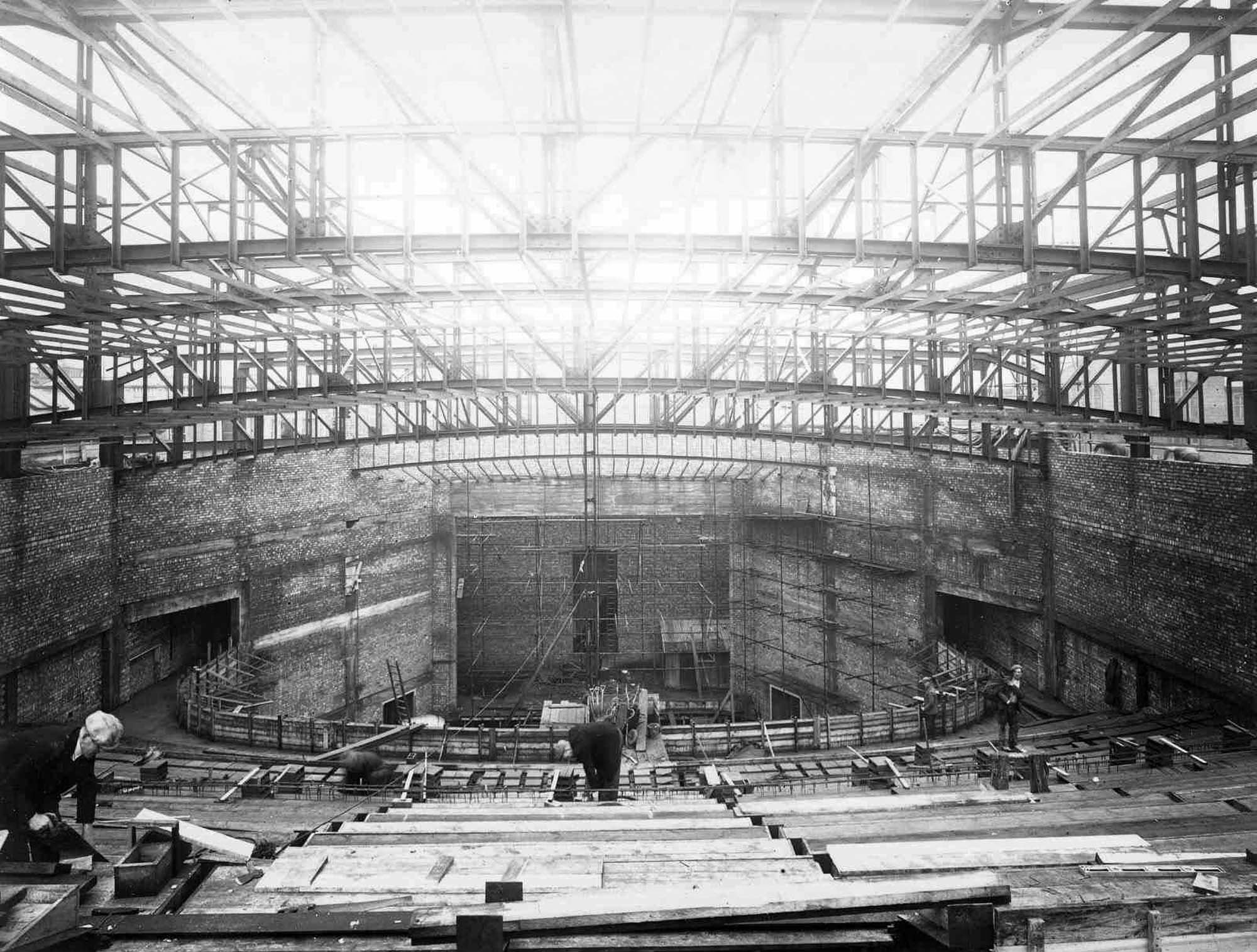 The main auditorium under construction, 1937 - Affective Digital Histories, University of Leicester