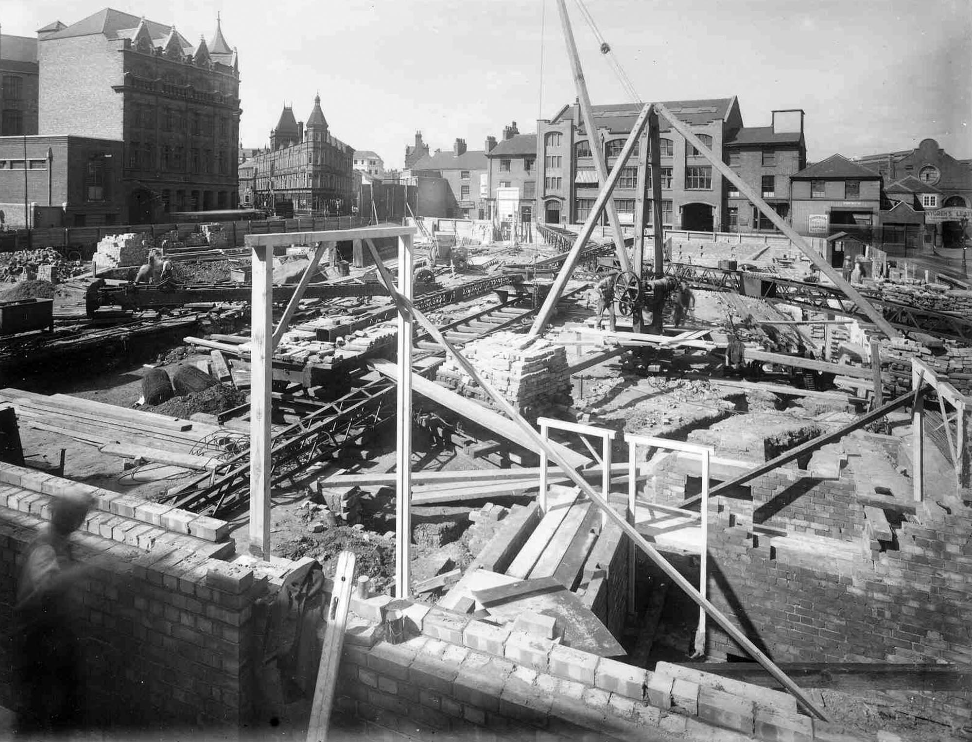 Looking from the rear of the construction site up towards Charles Street, 1937 - Affective Digital Histories, University of Leicester