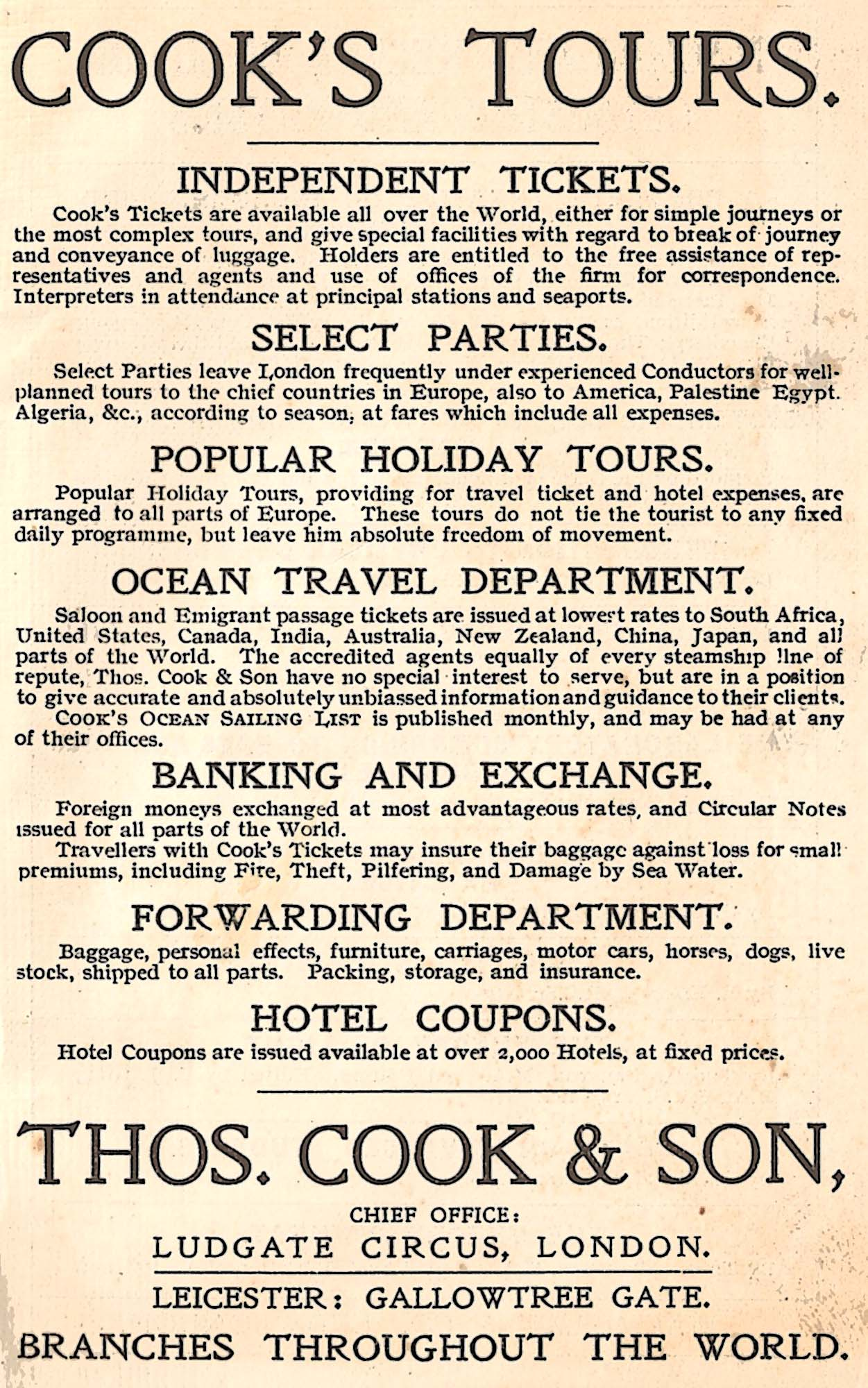 A Cook's Tours advertisement from 1907 -