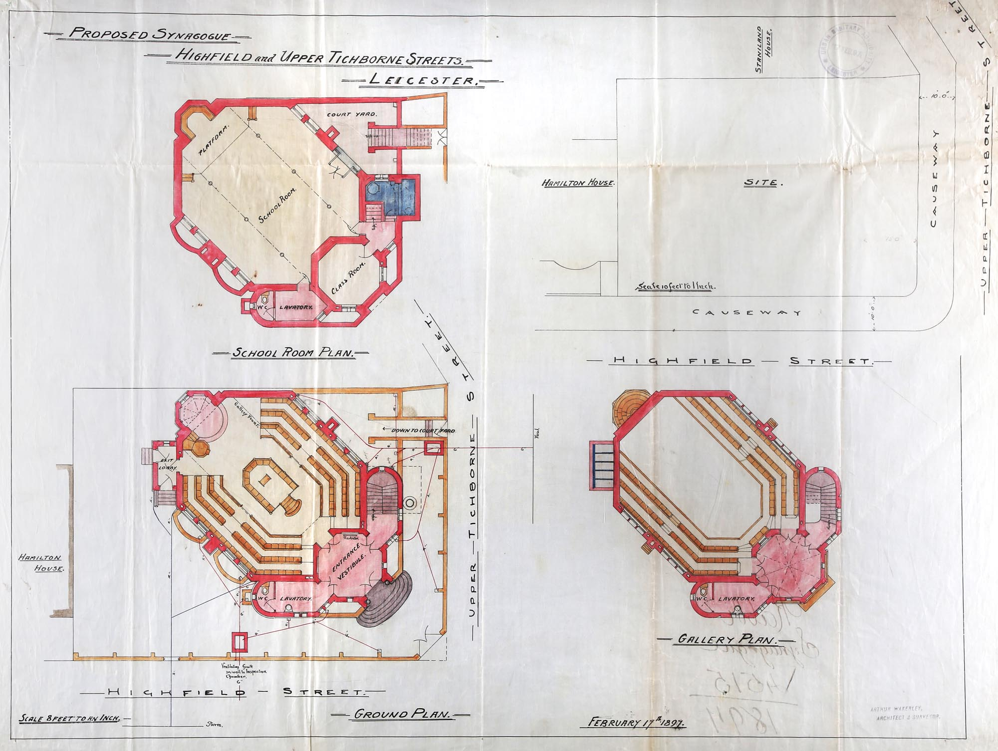 Architectural plans for the synagogue, designed by Arthur Wakerley -