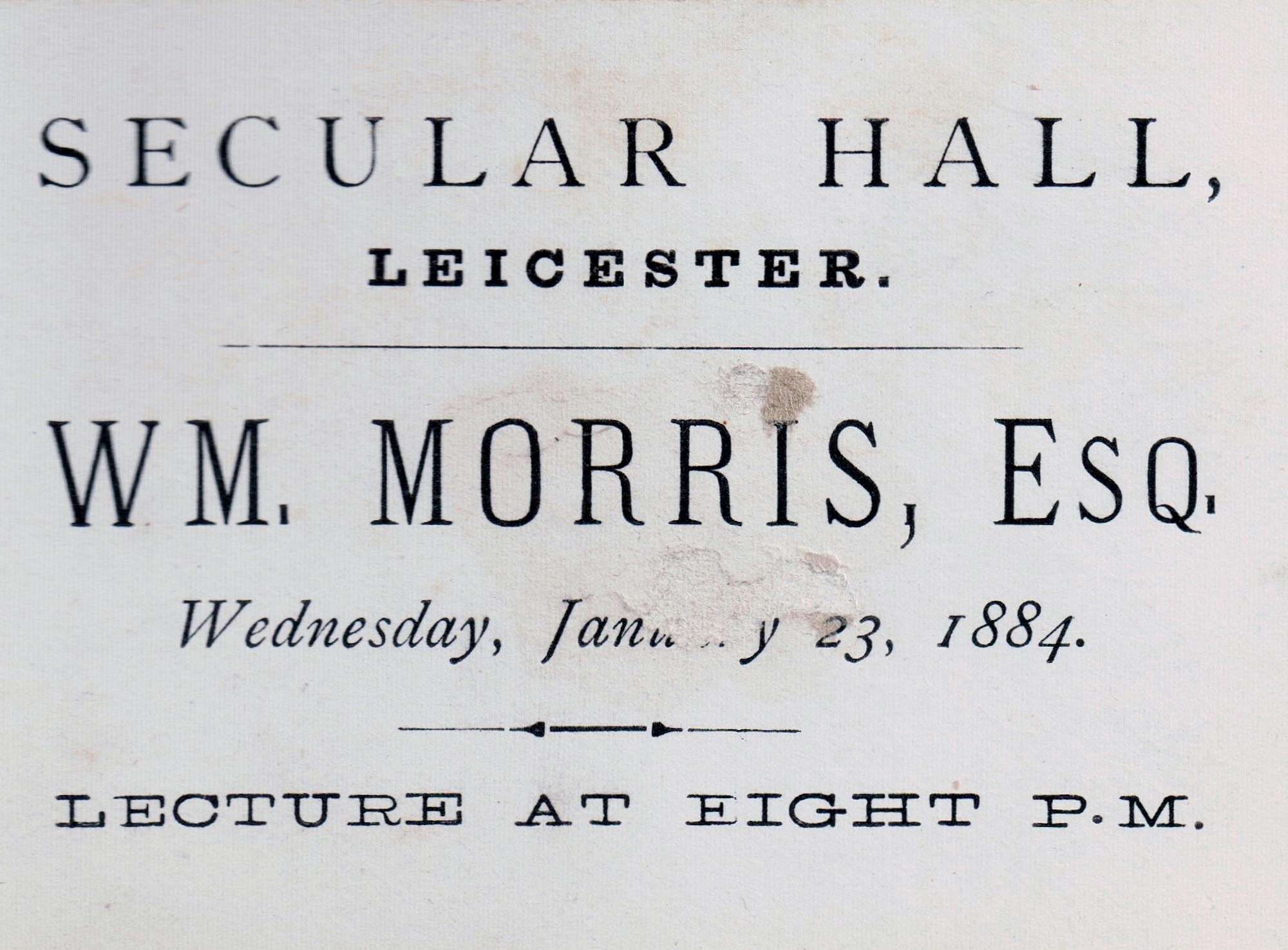 Ticket to the famous William Morris lecture of 1884 -