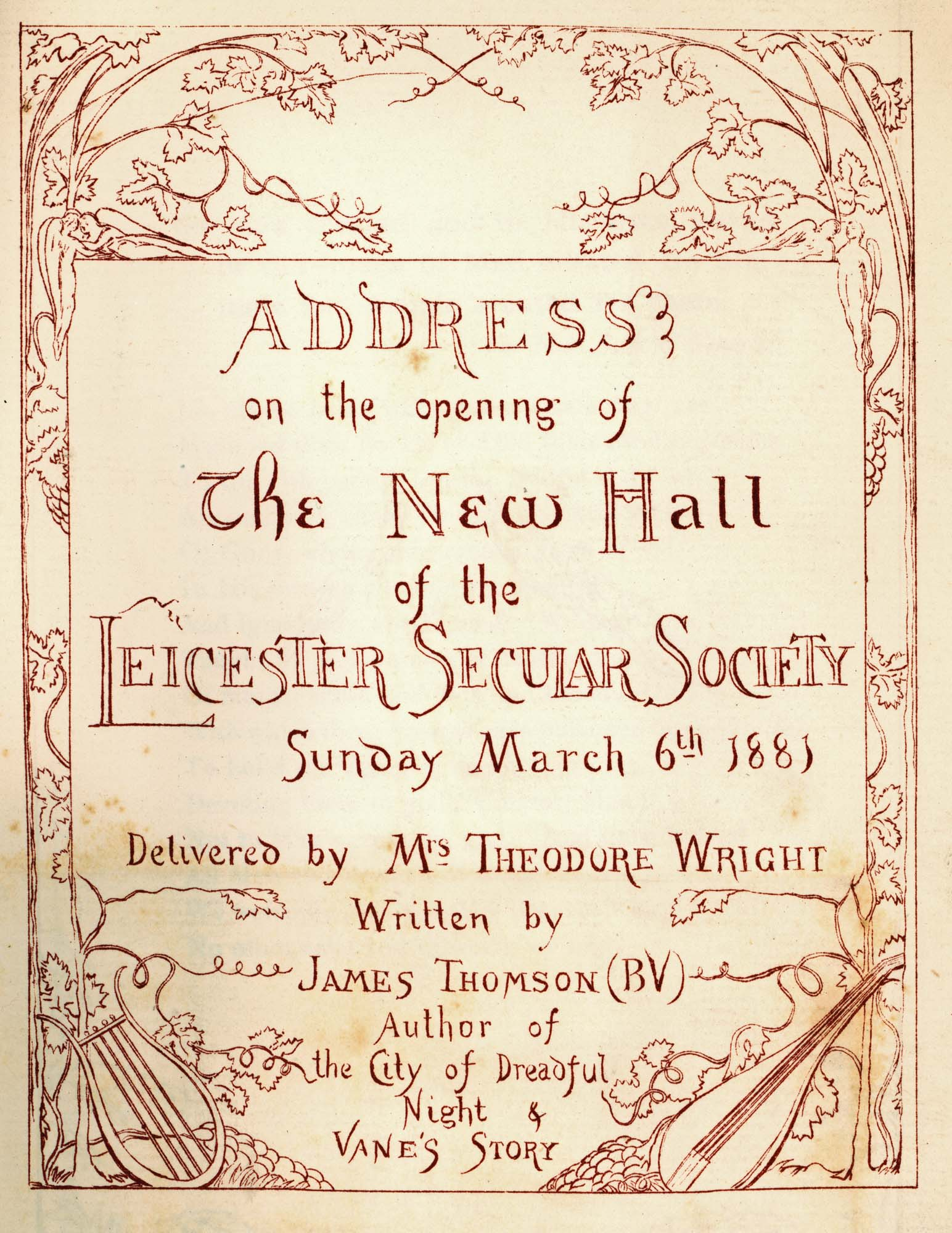 A leaflet to advertise the opening address at the Secular Hall, 1881 -