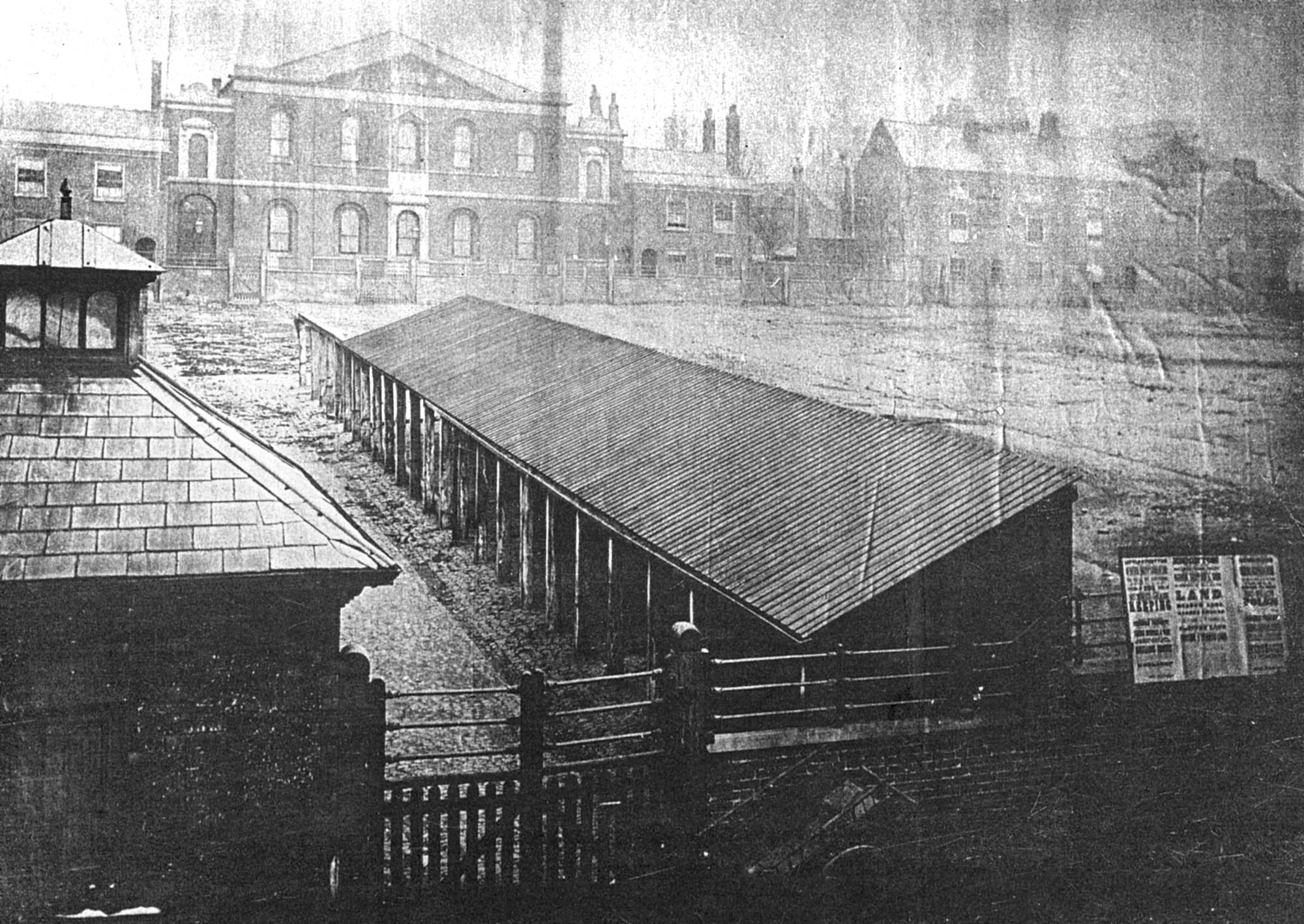 The animal sheds of the cattle market are in the foreground and you can see the chapel in background, circa 1870 -