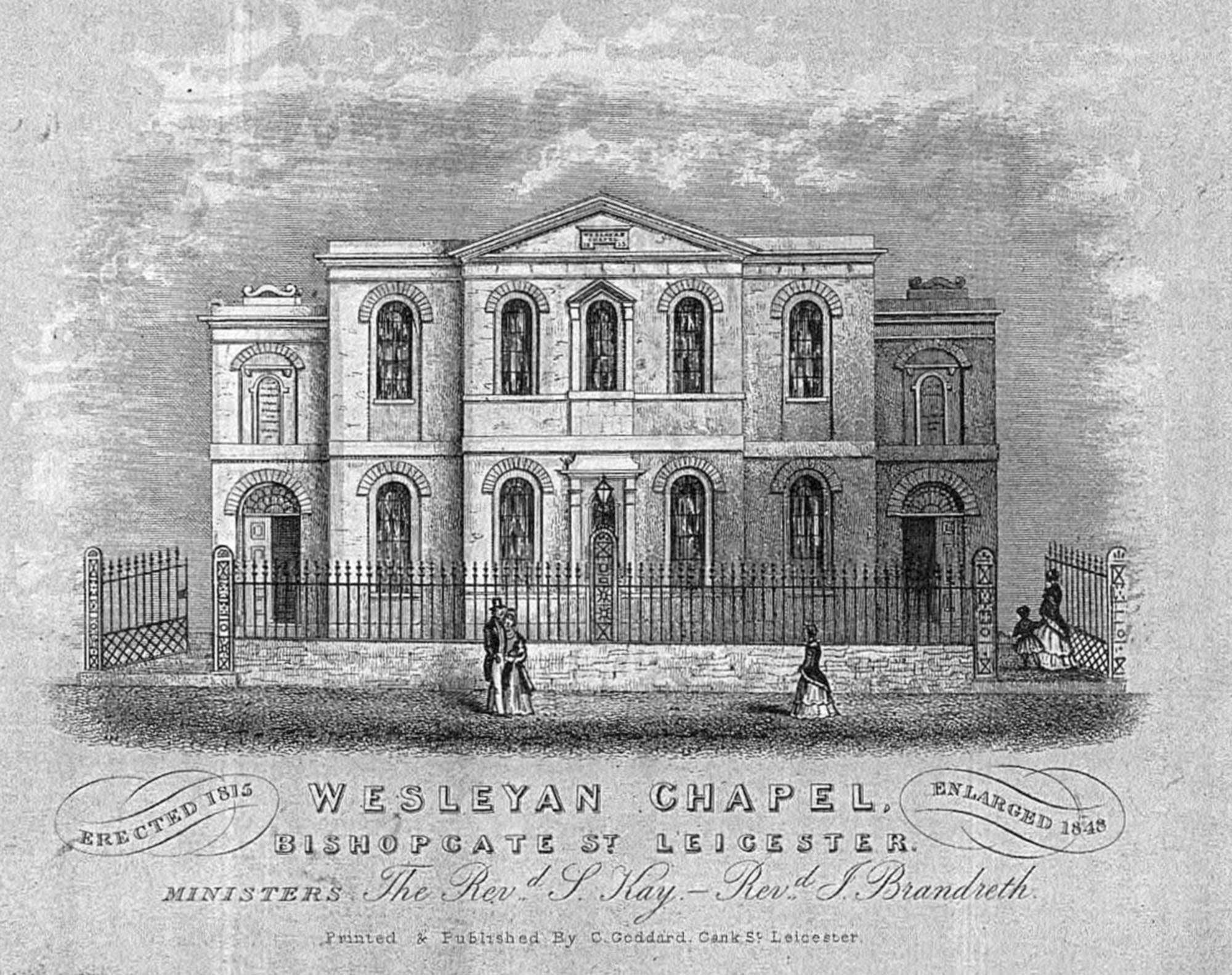 An engraving of the chapel printed by C. Goddard of Cank Street, Leicester, post 1848 - Leicestershire Record Office