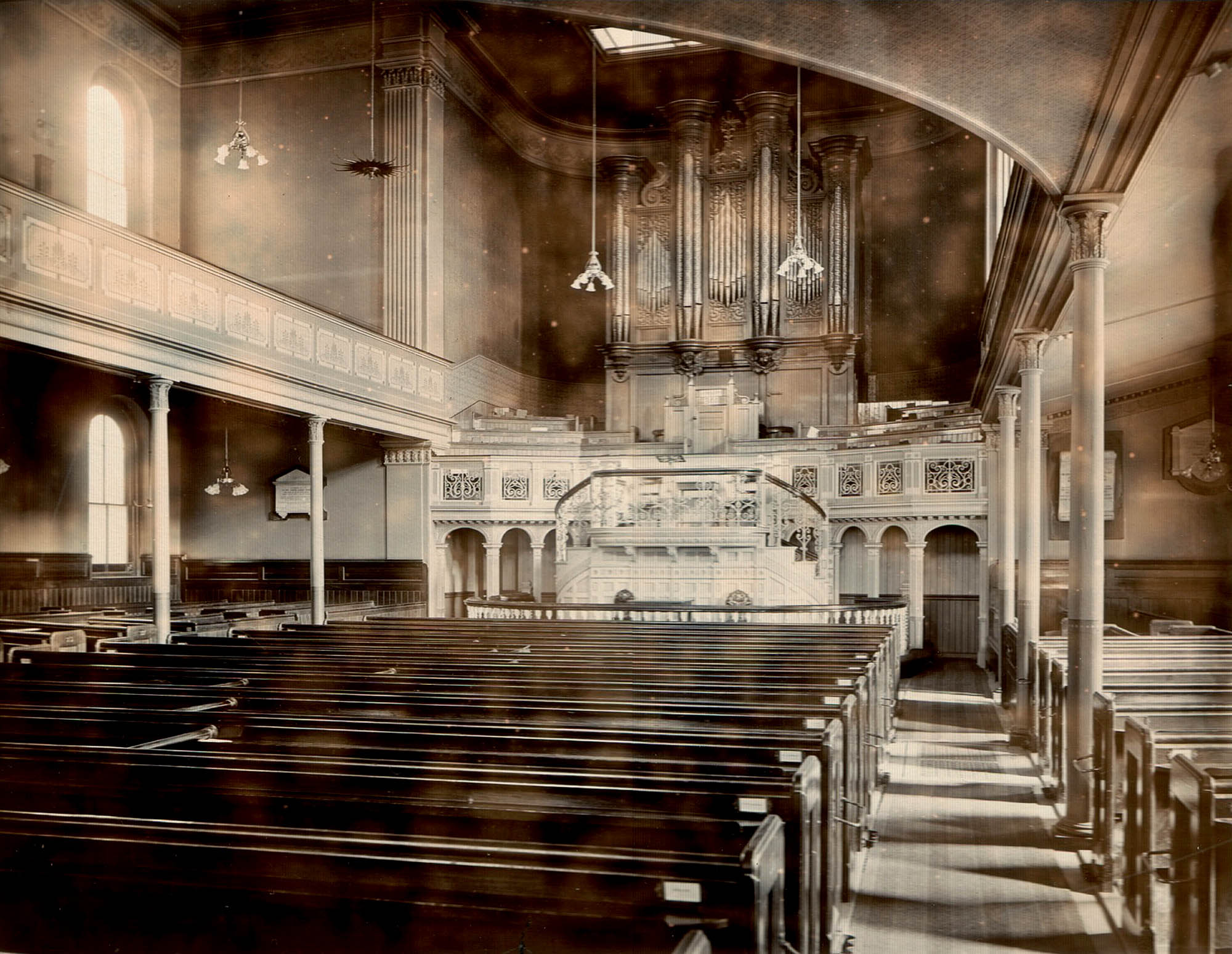 The interior of the chapel before the new ceiling was installed, circa 1890 -