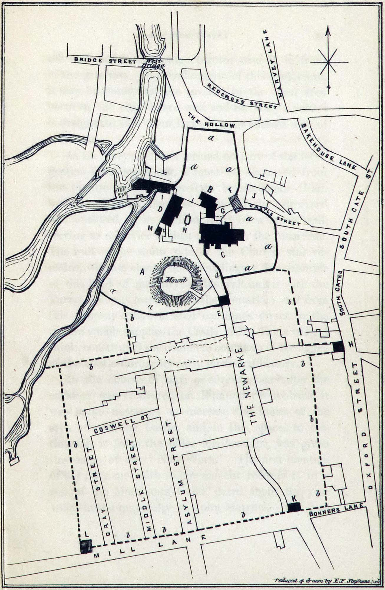 1859 map of the Newarke area in Leicester showing the Castle Motte in the upper middle -