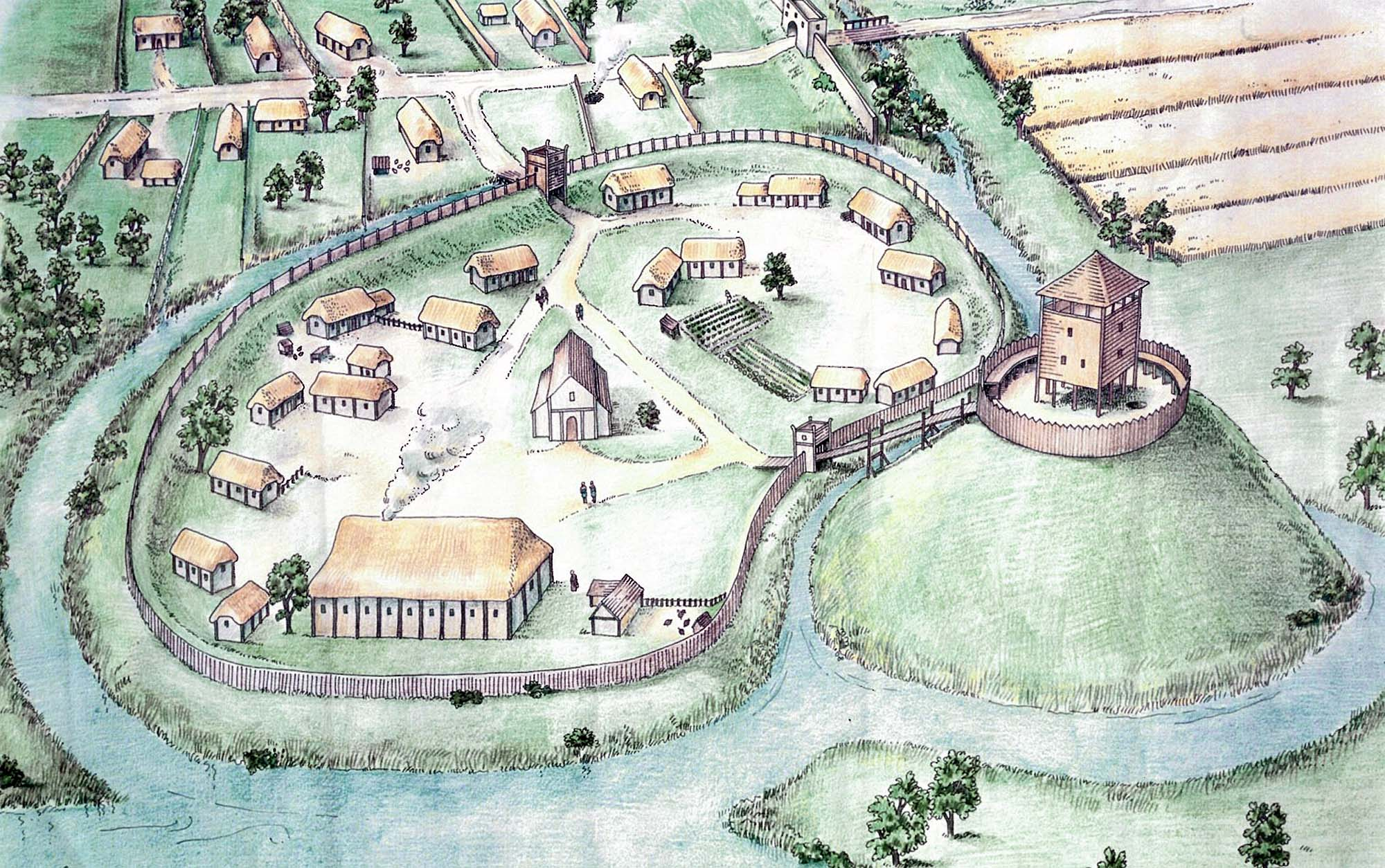 At artist's impression of Leicester Castle as it may have looked c.1068 - Sarah Geeves