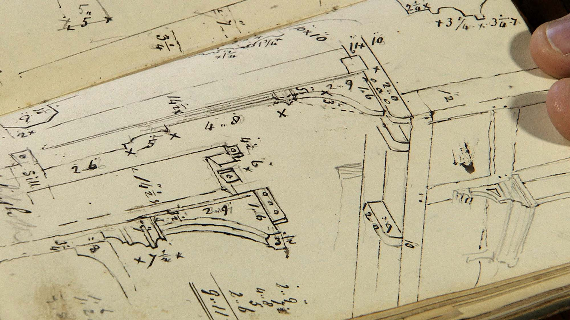 Detail of a page from Henry Goddard's notebook containing detailed, annotated drawings of every part of the inn, down to the last quarter-inch - The Goddard family/University of Leicester