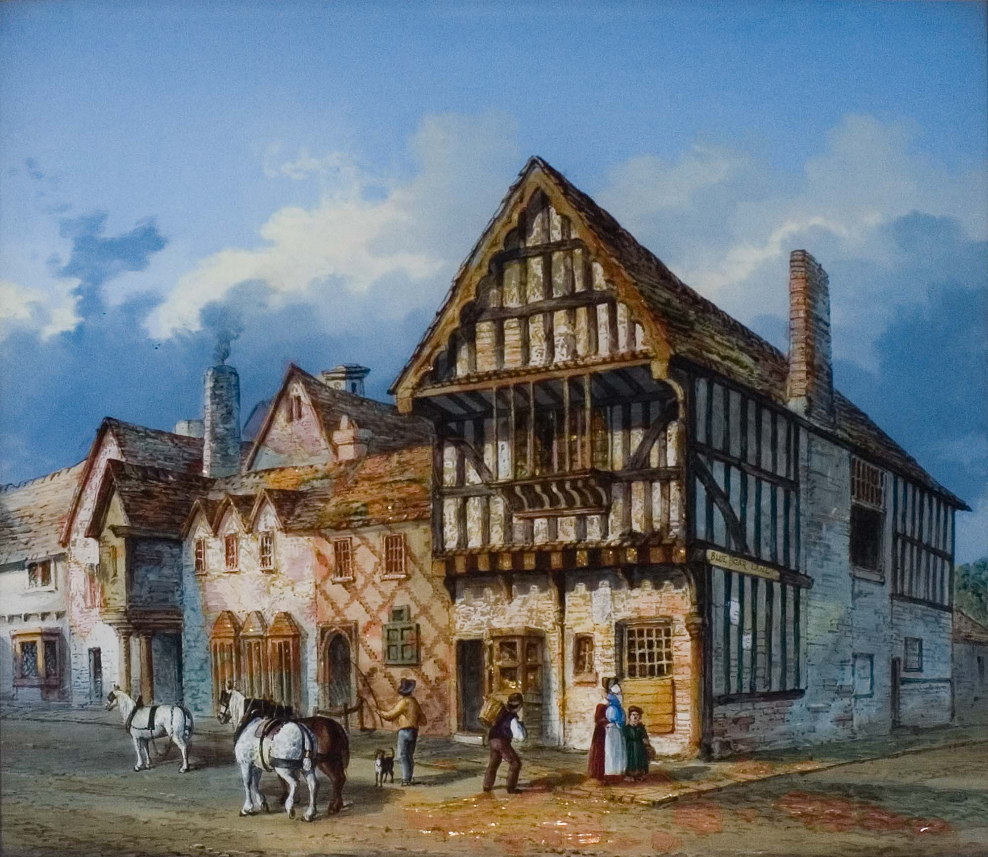 'Blue Boar Inn' T. Brown Chapman, Oil paint on mother of pearl, 1840 - From the collections of Leicester Museums