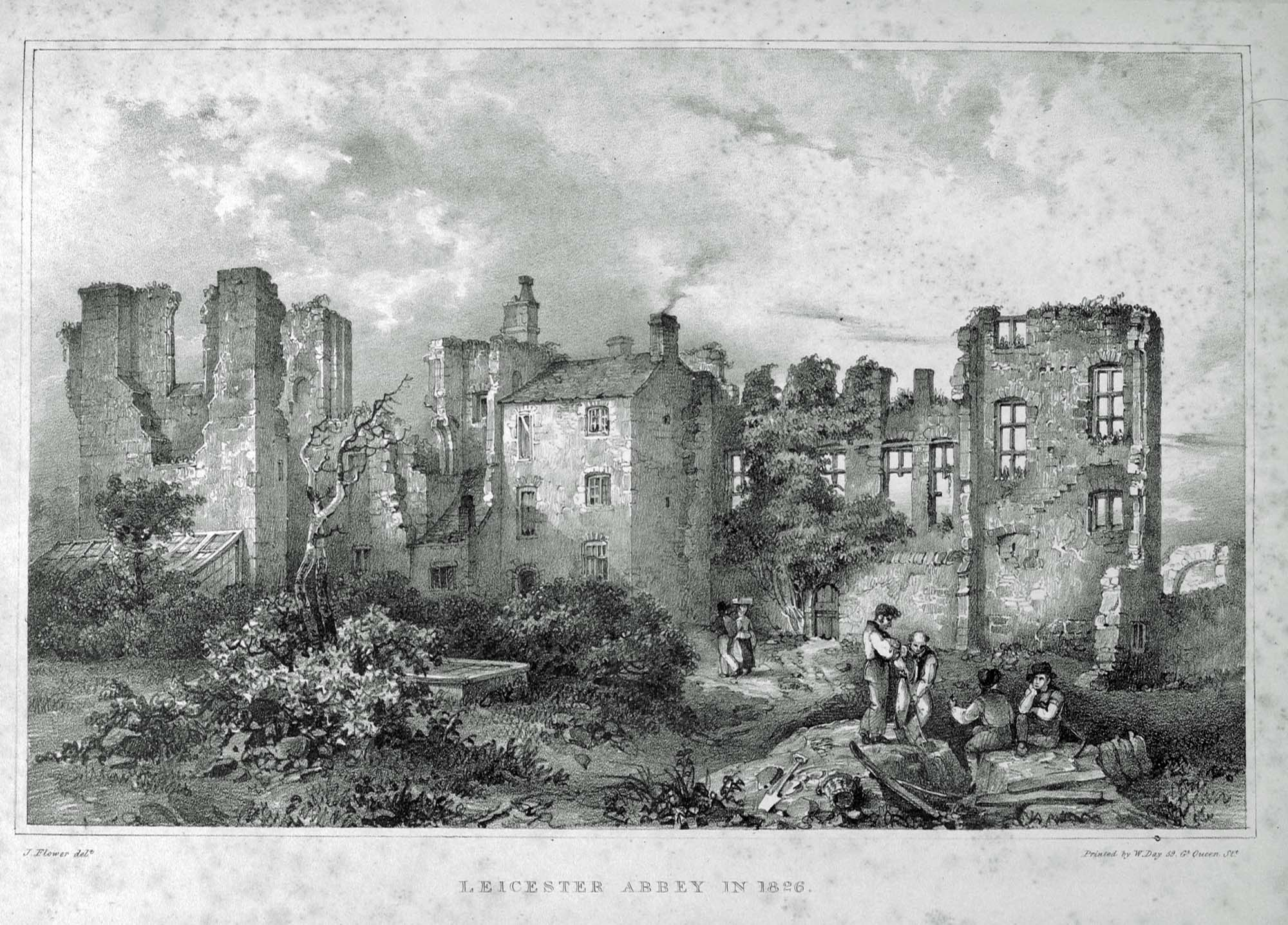 Leicester Abbey in 1826, print by John Flower -